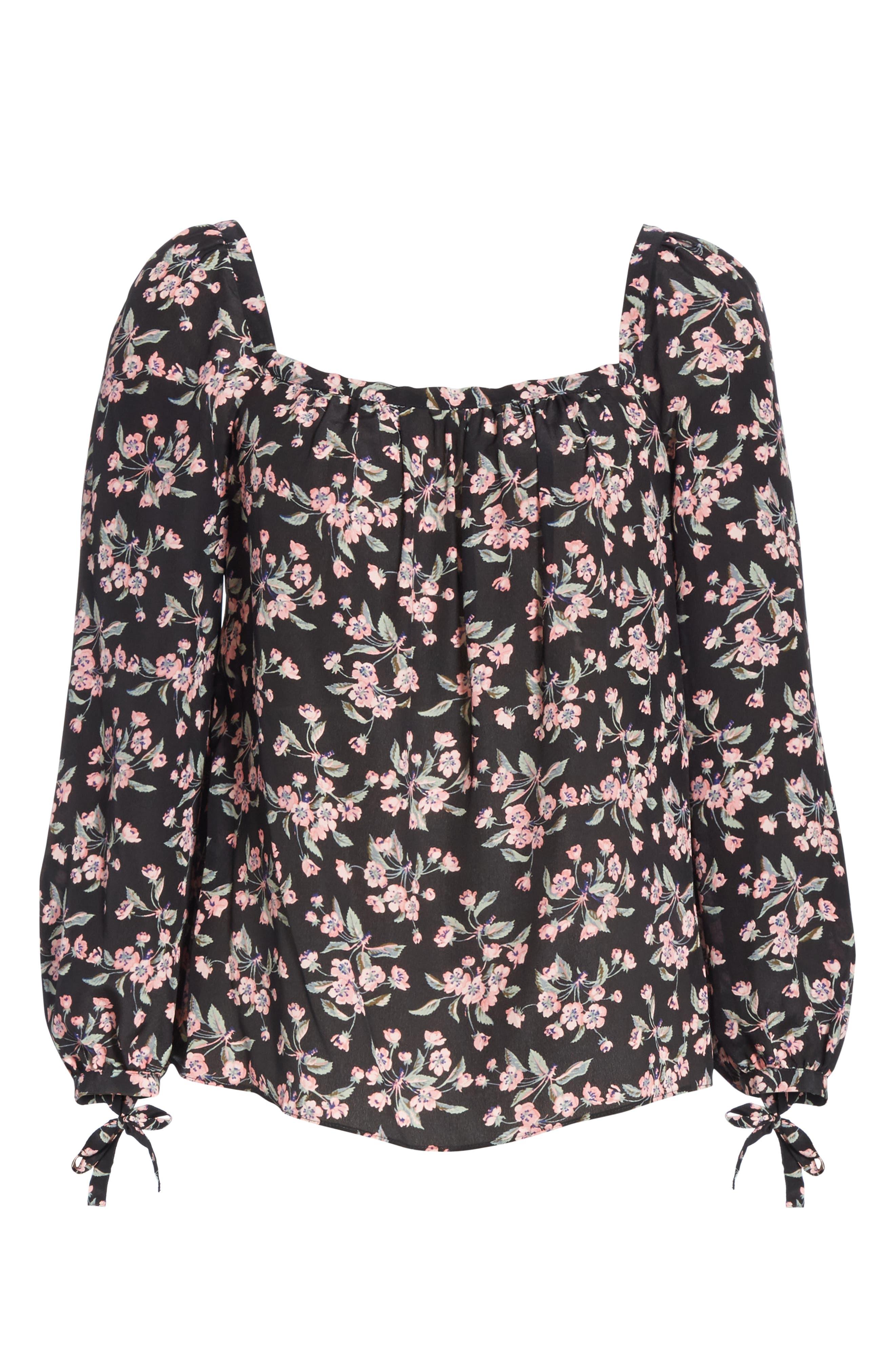 Tilda Floral Tie Sleeve Silk Blouse,                             Alternate thumbnail 6, color,                             BLACK COMBO