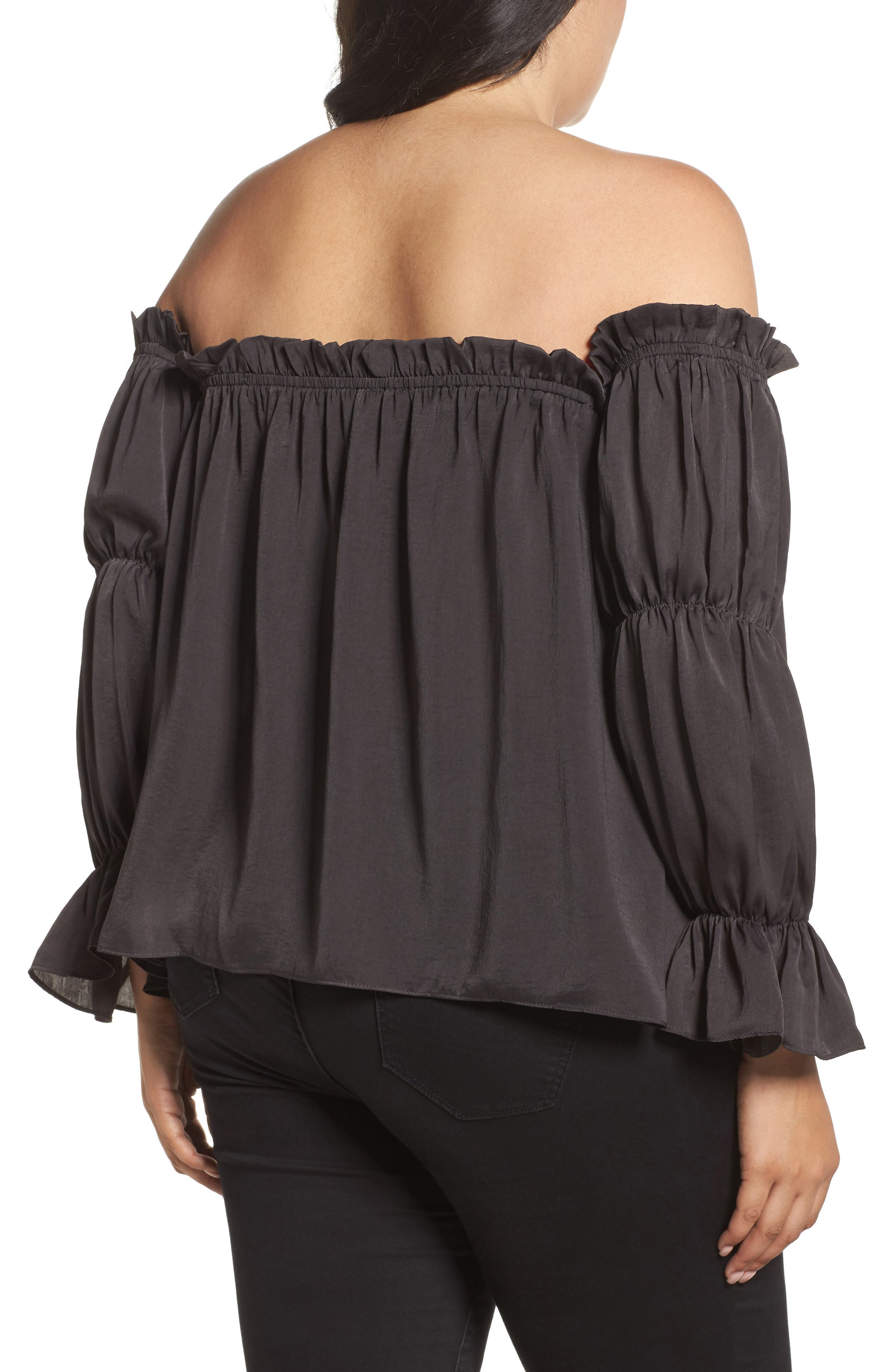 Off the Shoulder Puff Sleeve Top,                             Alternate thumbnail 2, color,                             020