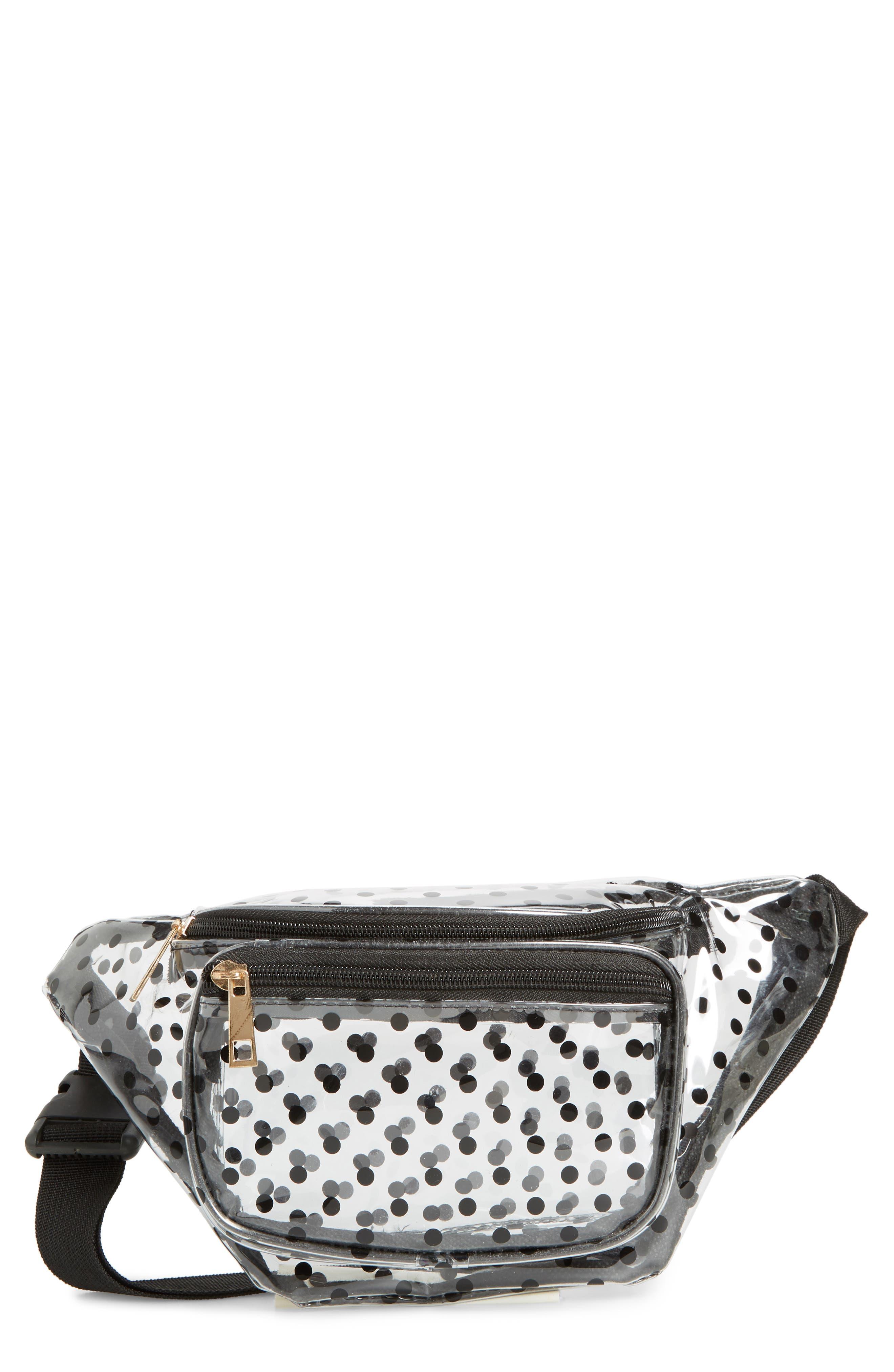 JANE & BERRY Polka Dot Transparent Belt Bag, Main, color, BLACK
