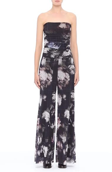 Floral Print Tulle Strapless Jumpsuit, video thumbnail
