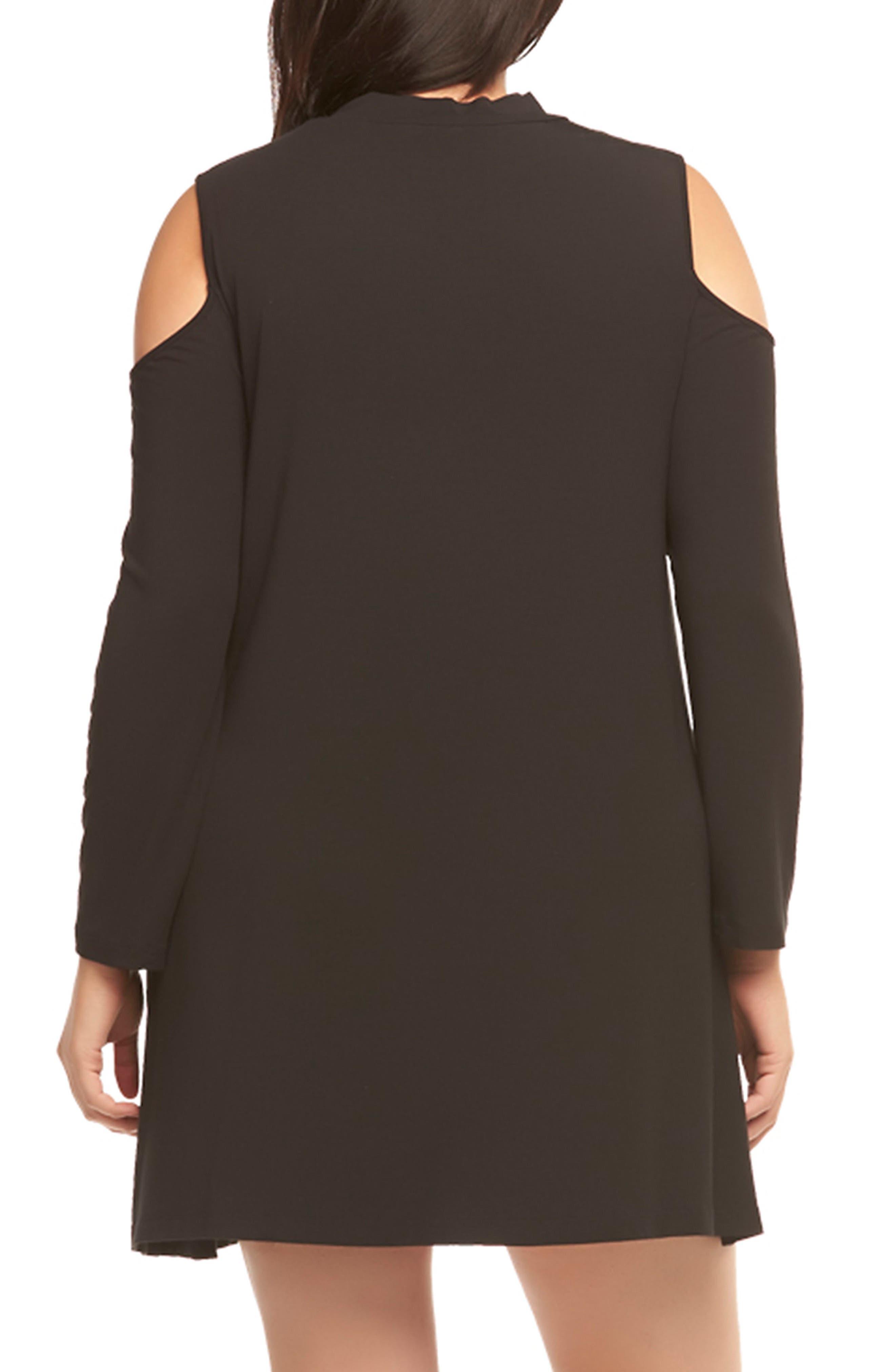 Kailey Cold Shoulder Trapeze Dress,                             Alternate thumbnail 2, color,                             BLACK