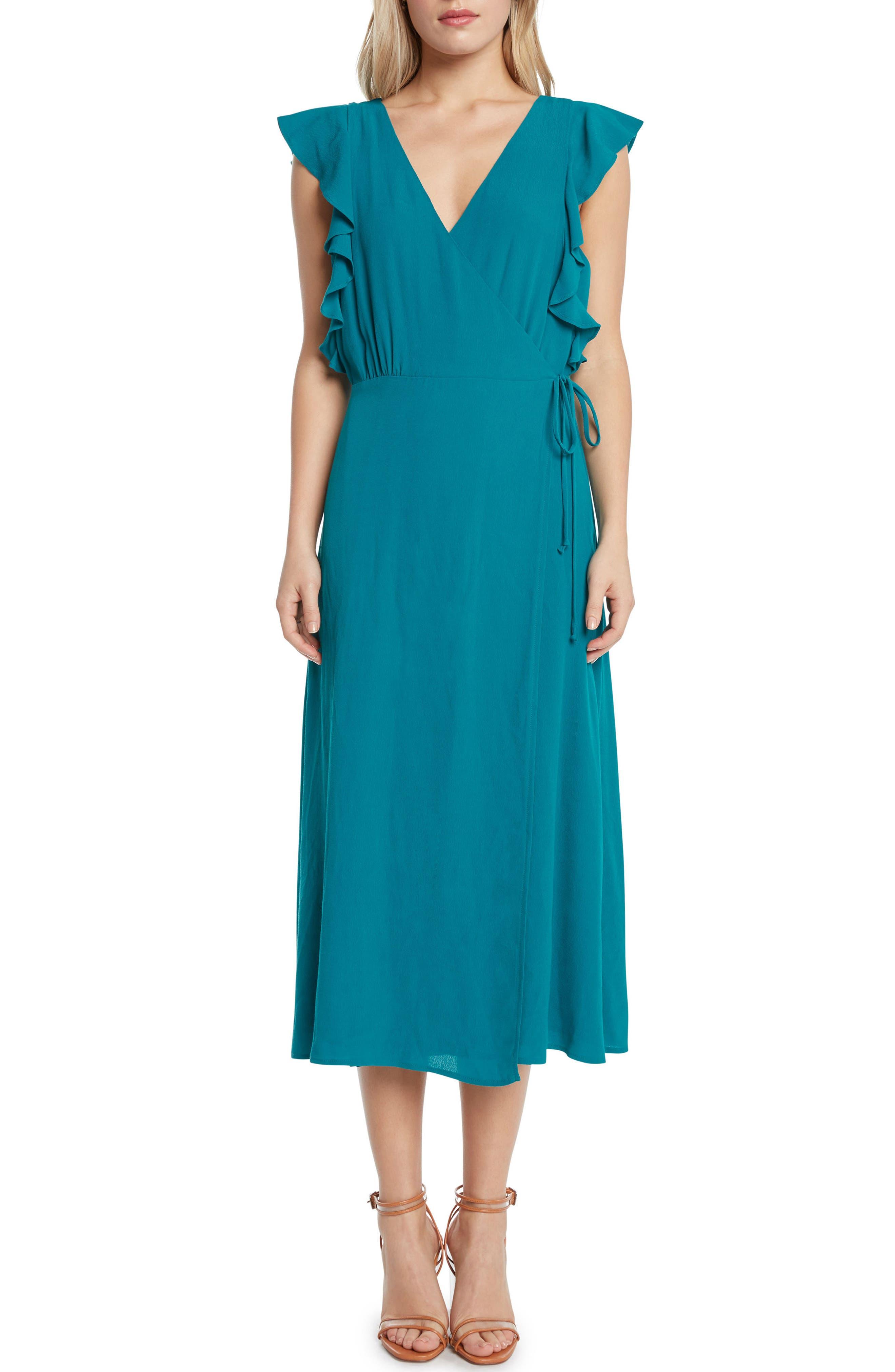 Solid Wrap Midi Dress,                             Main thumbnail 2, color,
