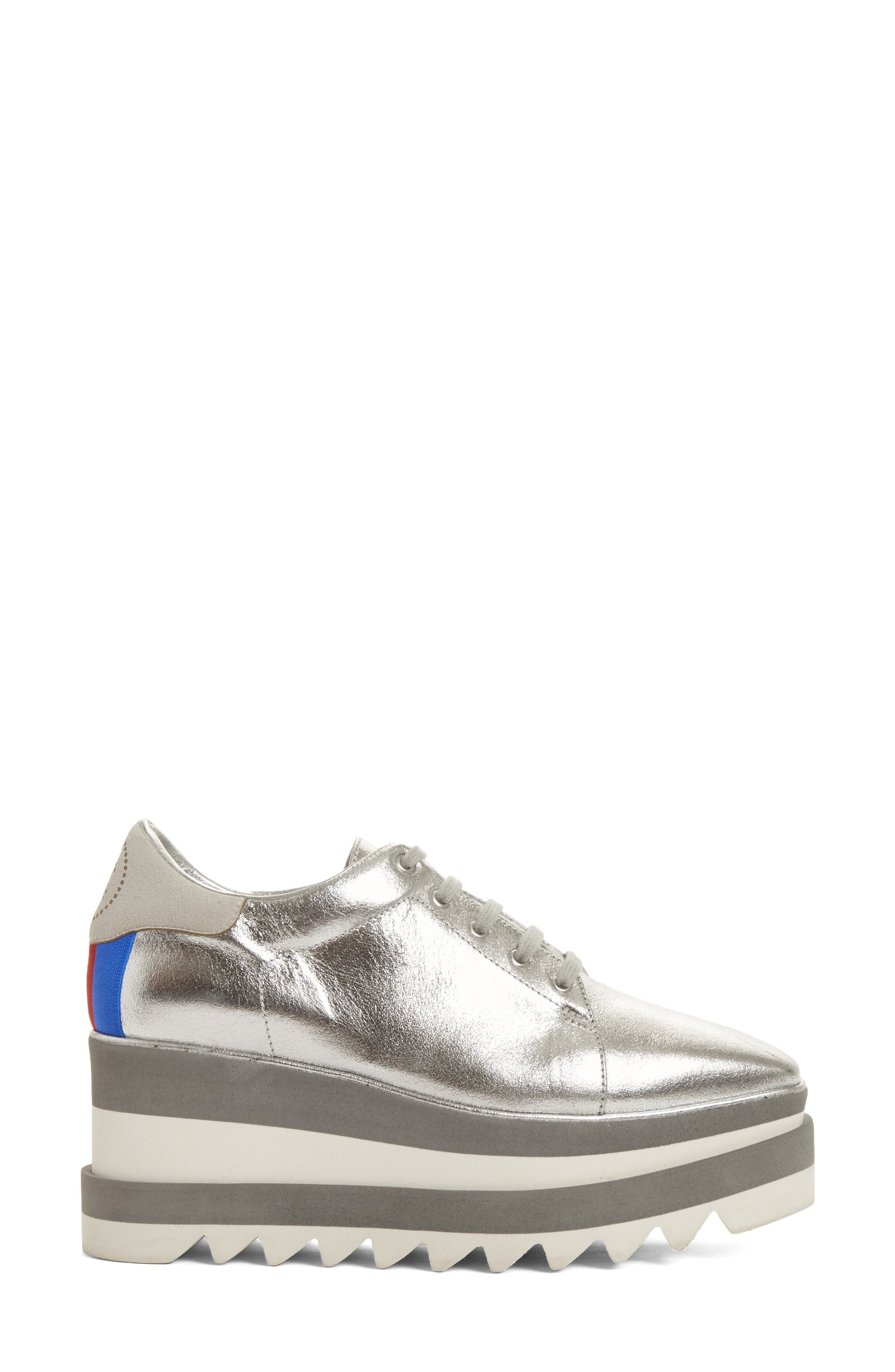 Elyse Platform Sneaker,                             Alternate thumbnail 3, color,                             SILVER