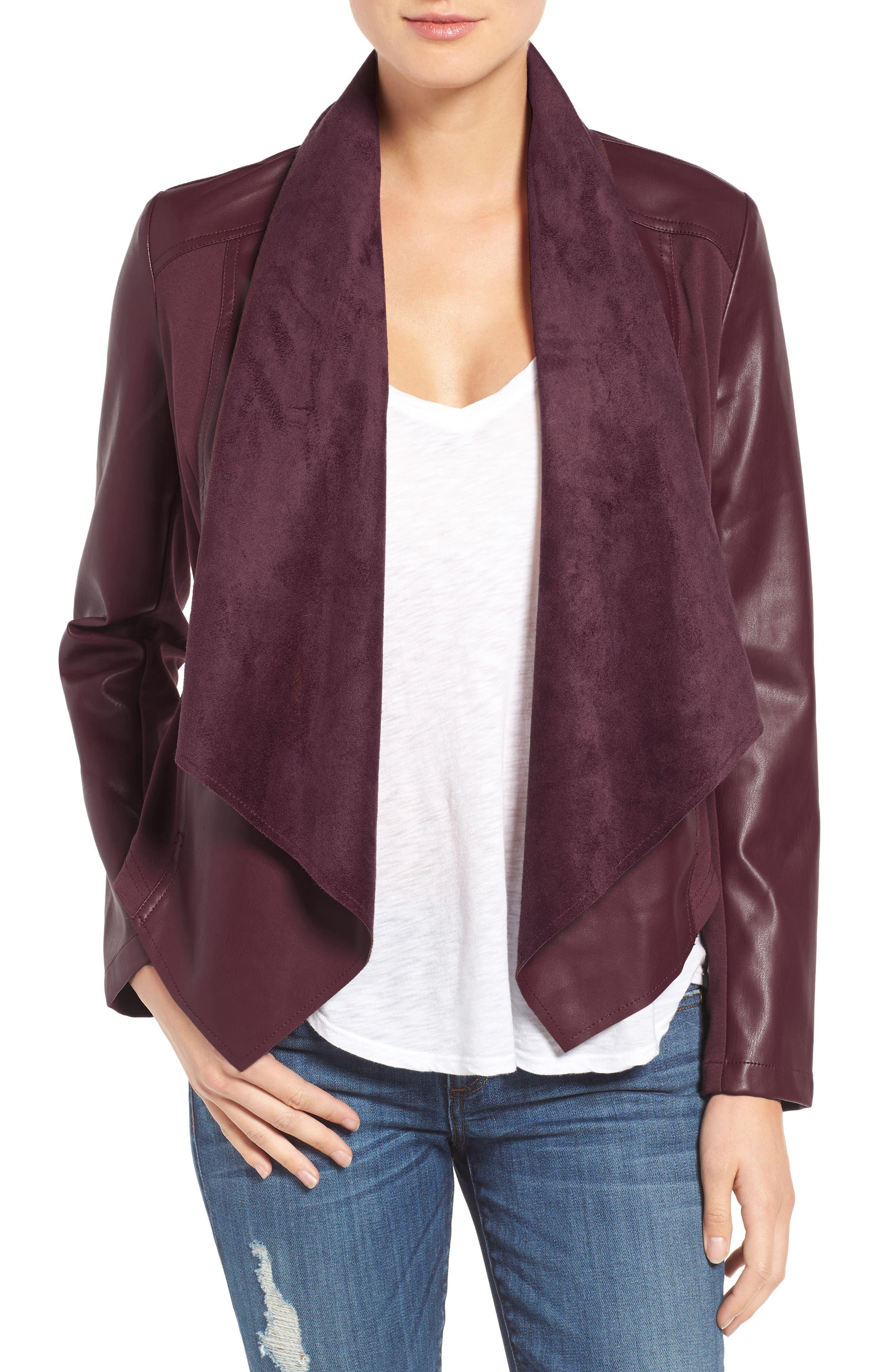 'Ana' Faux Leather Drape Front Jacket,                             Main thumbnail 5, color,