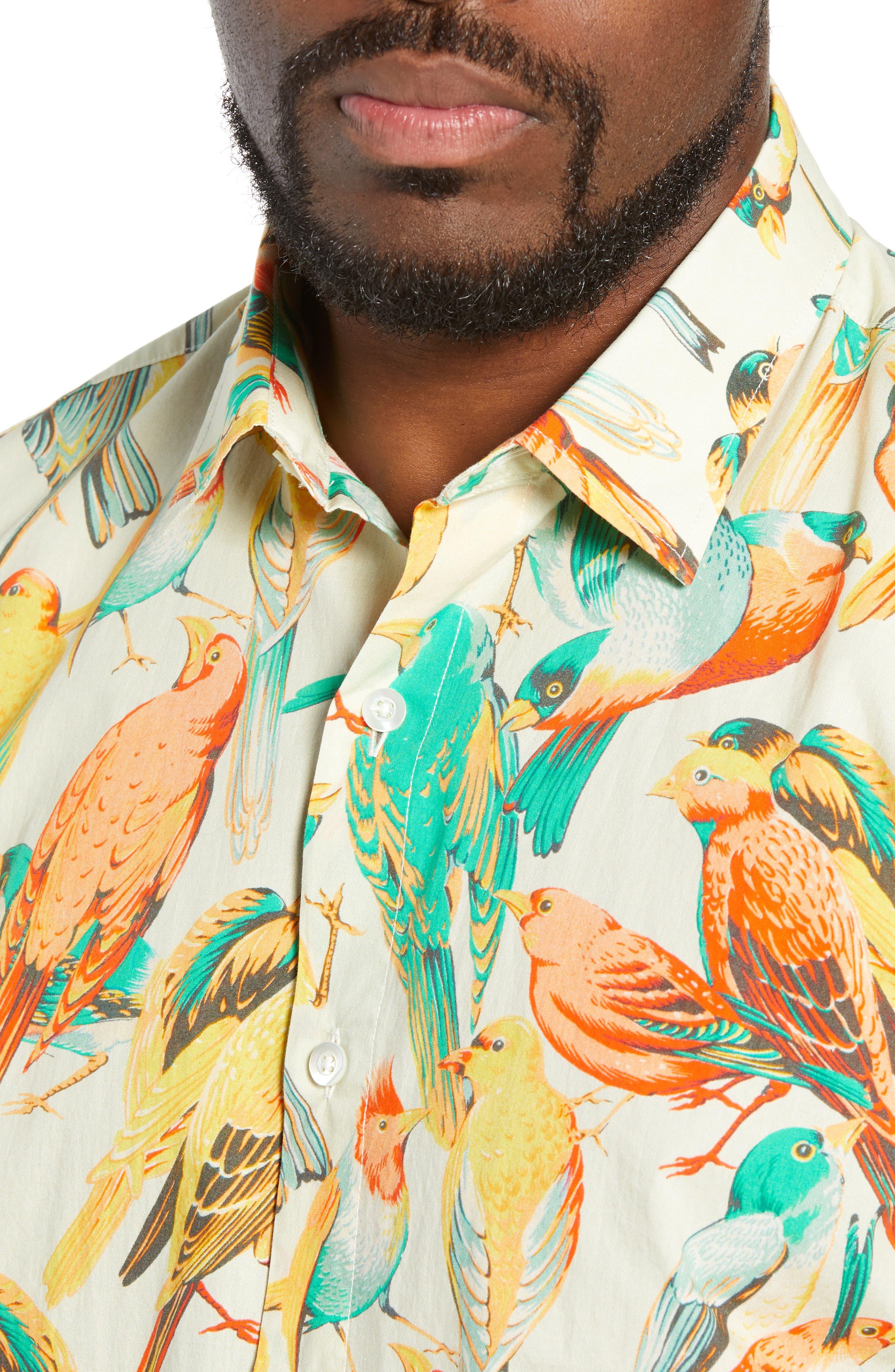Premium Slim Fit Bird Print Sport Shirt,                             Alternate thumbnail 2, color,                             700