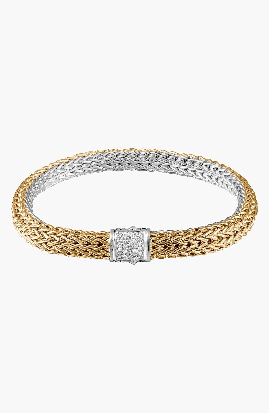 'Classic Chain' Diamond Two-Tone Bracelet,                             Main thumbnail 1, color,                             D.16 18KYSS