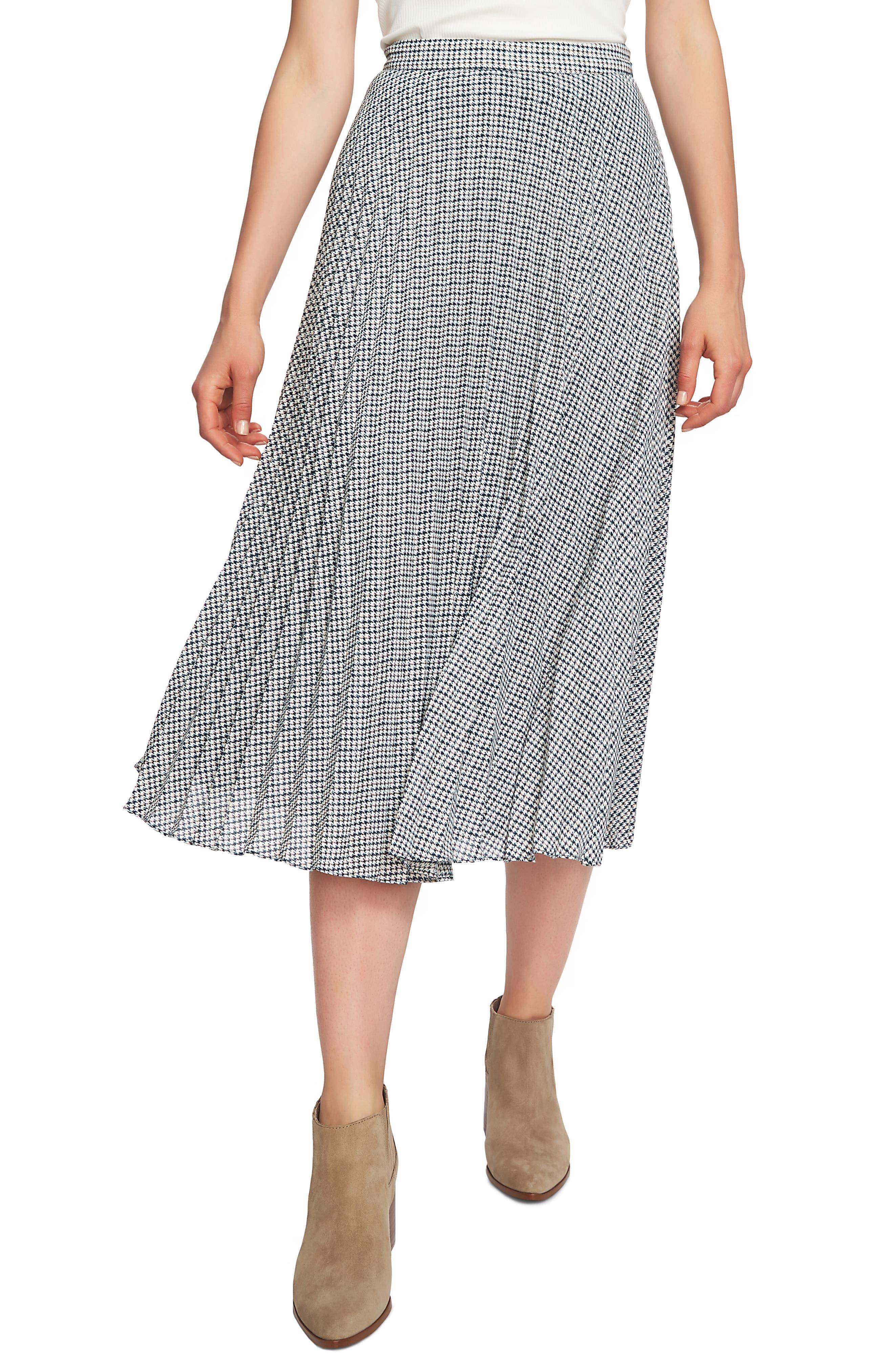 1.state Fine Puppytooth Pleated Midi Skirt