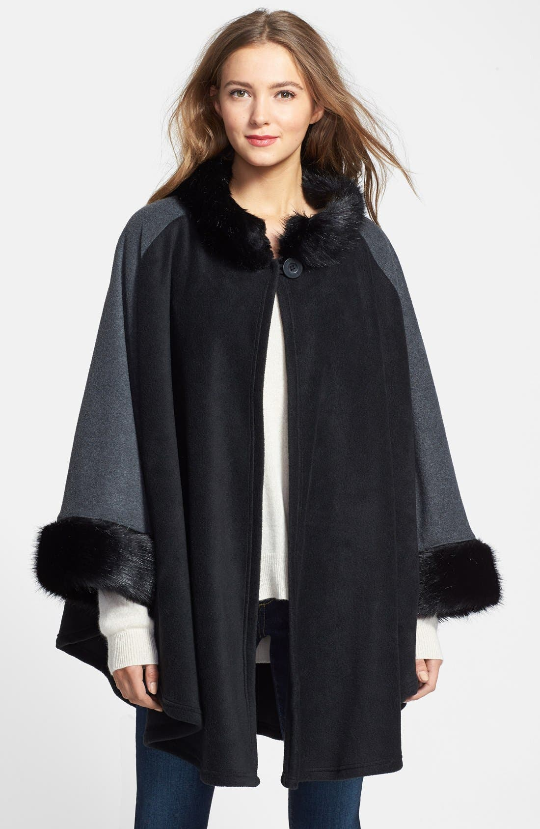 'Karina' Faux Fur Trim Cape,                             Main thumbnail 1, color,                             001