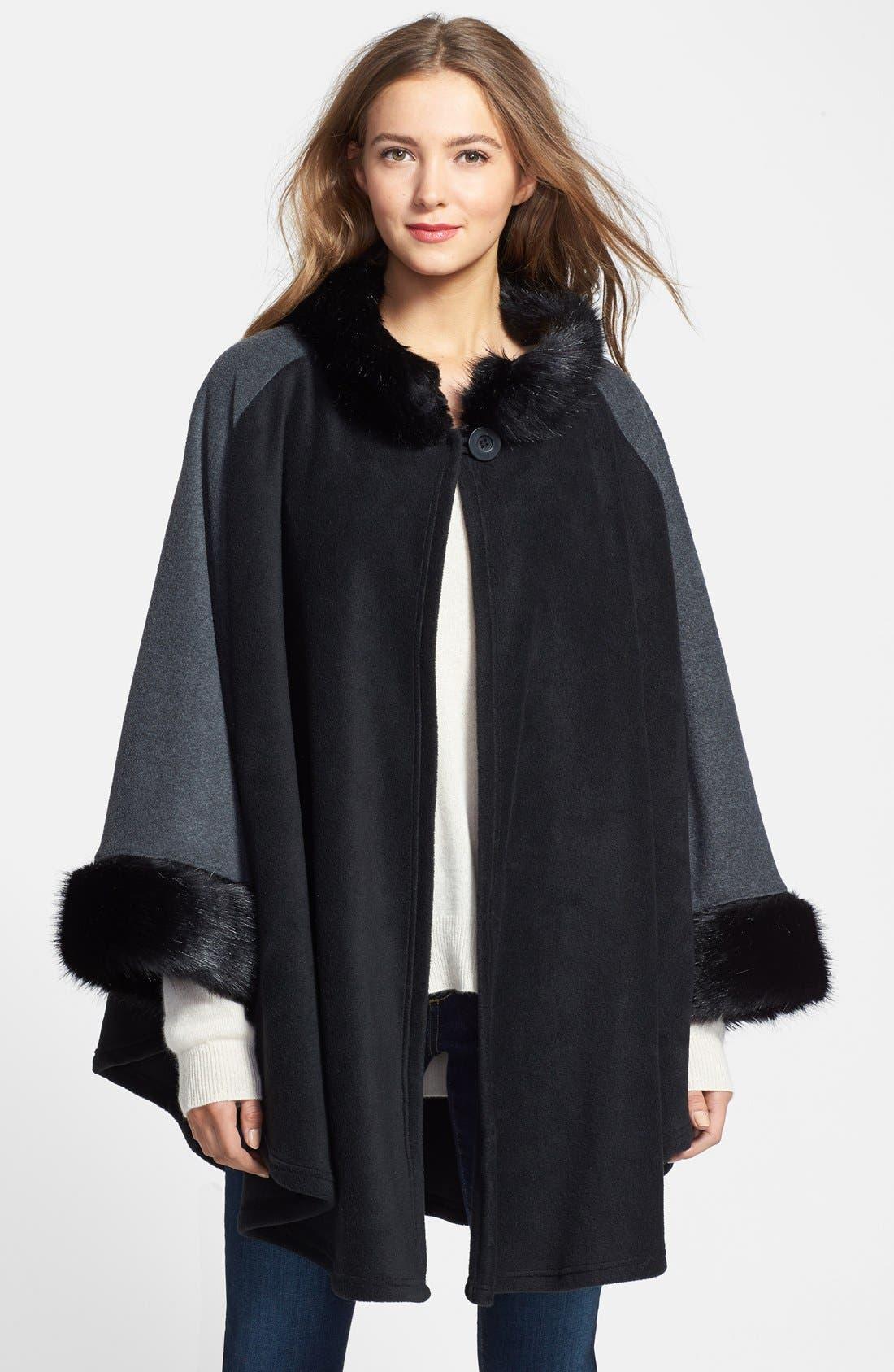 'Karina' Faux Fur Trim Cape, Main, color, 001