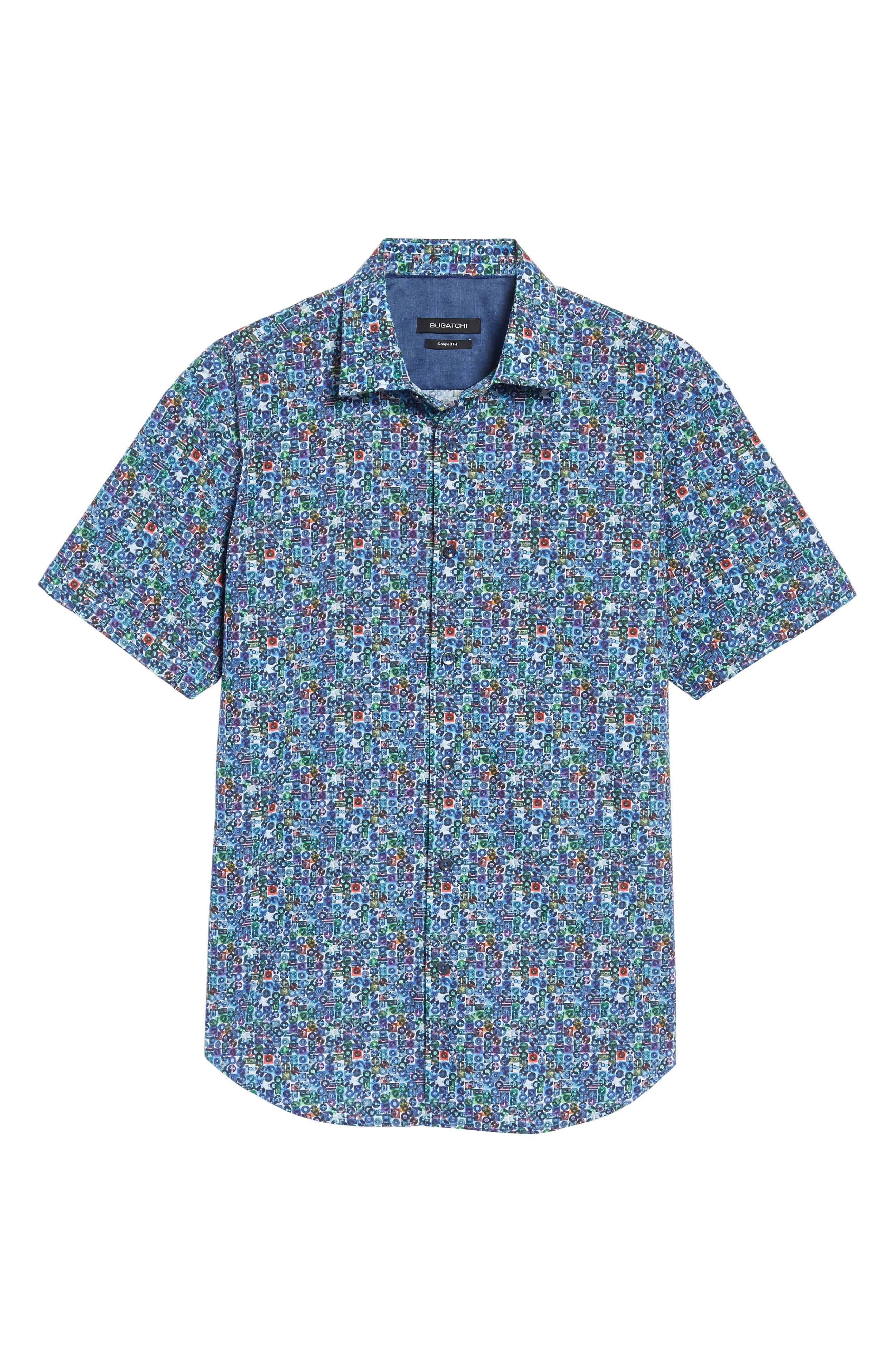 Shaped Fit Print Sport Shirt,                             Alternate thumbnail 6, color,                             513