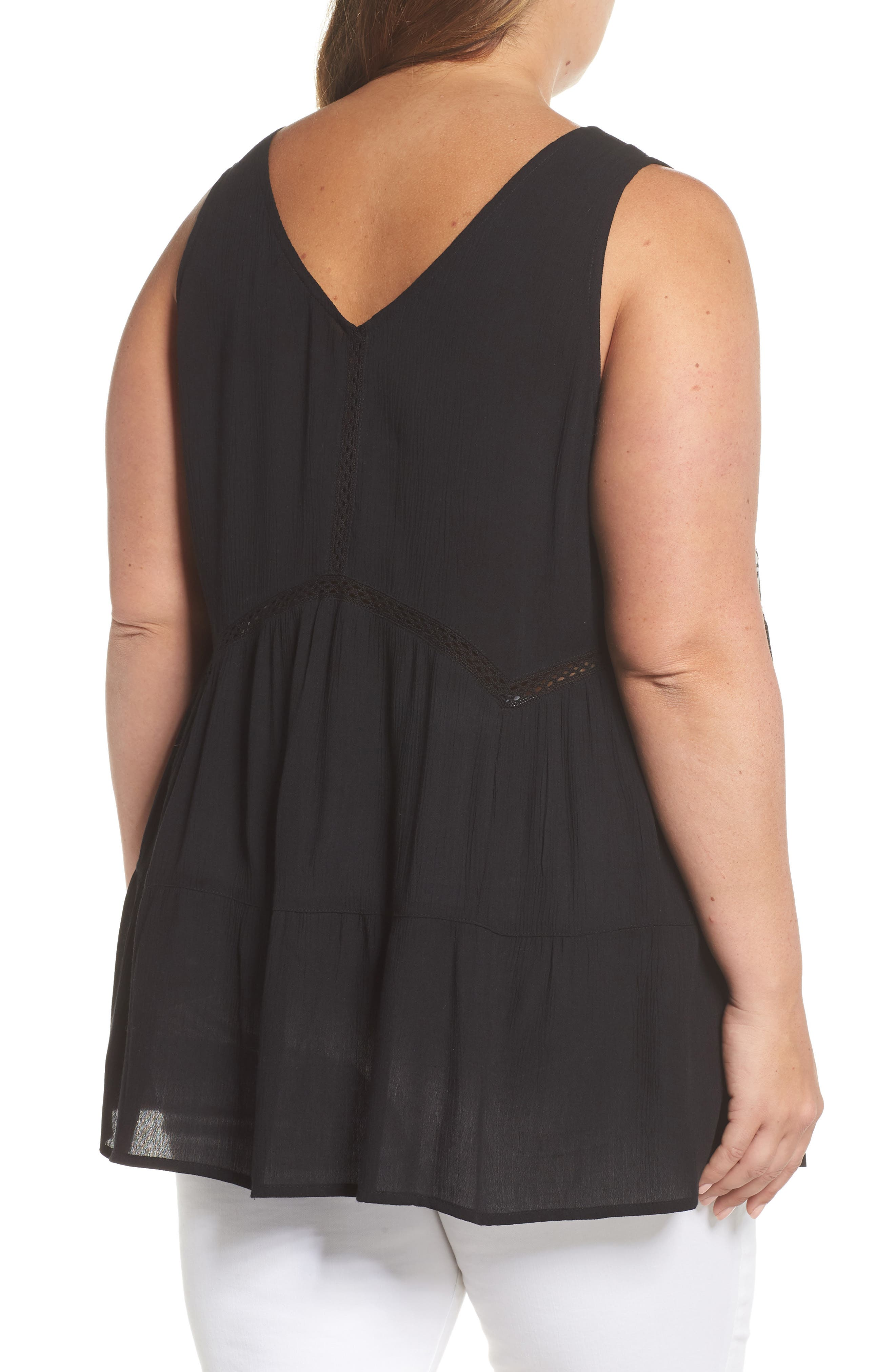 ANGIE,                             Embroidered Woven Tank,                             Alternate thumbnail 2, color,                             001