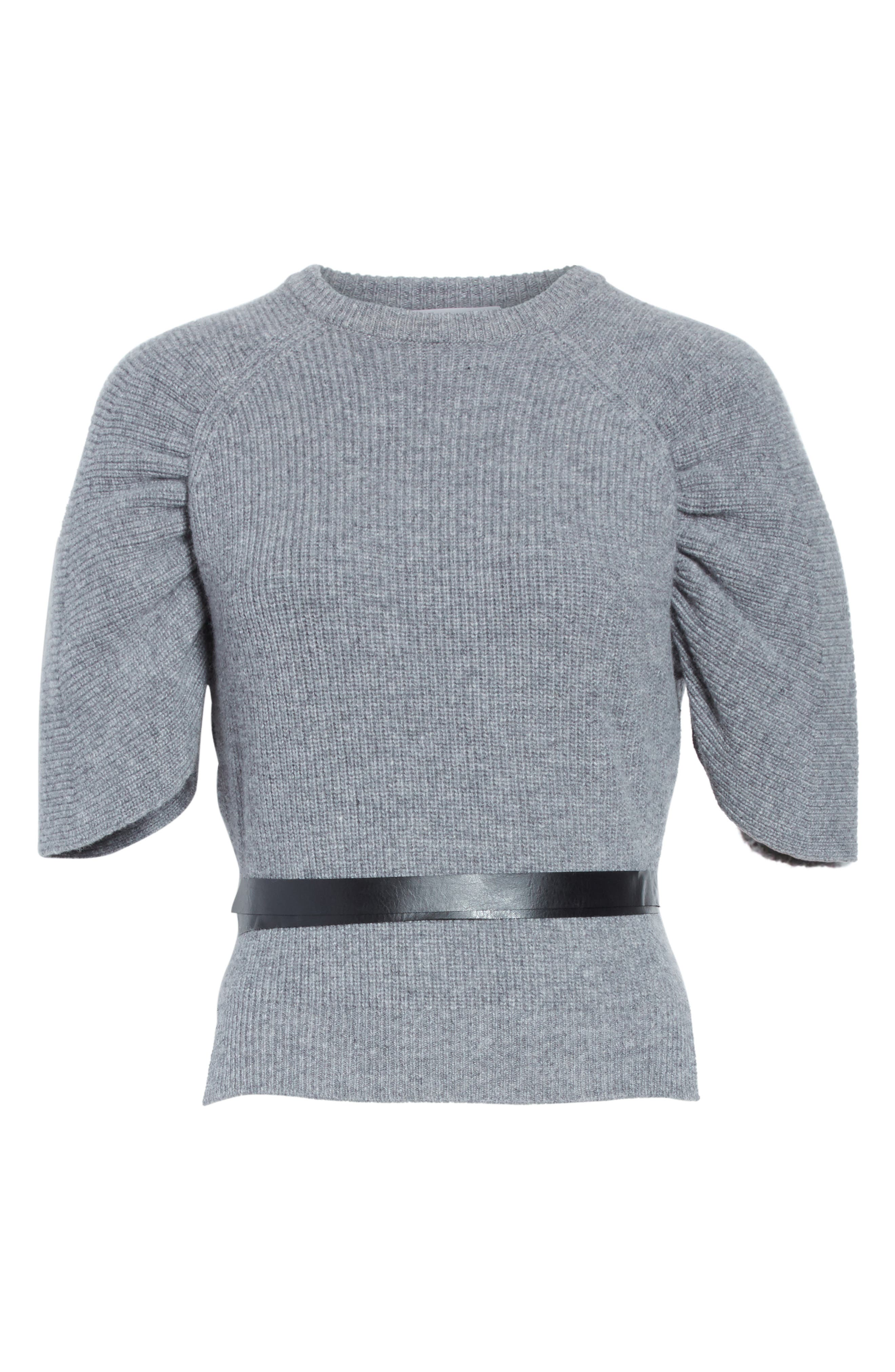 Belted Carded Wool Sweater,                             Alternate thumbnail 6, color,