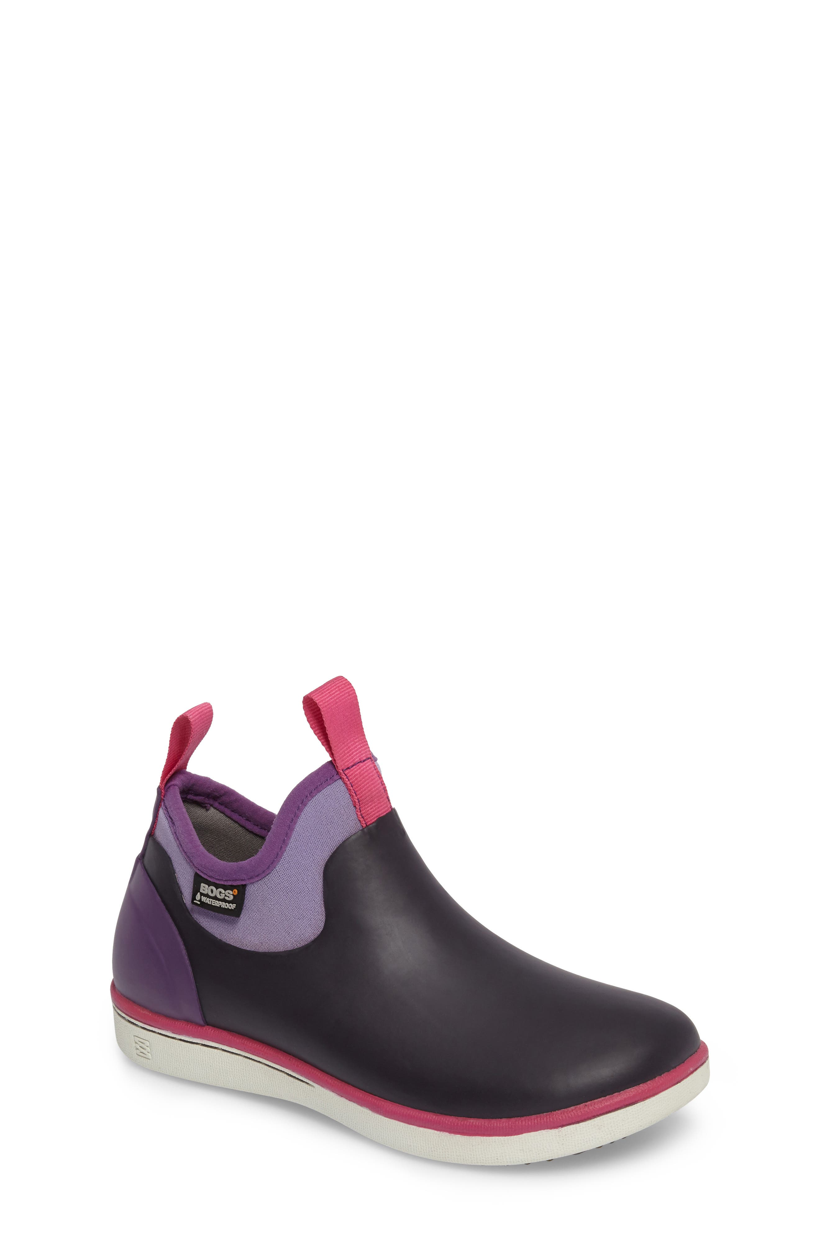 Riley Waterproof Sock Fit Boot,                             Main thumbnail 1, color,                             EGGPLANT MULTI