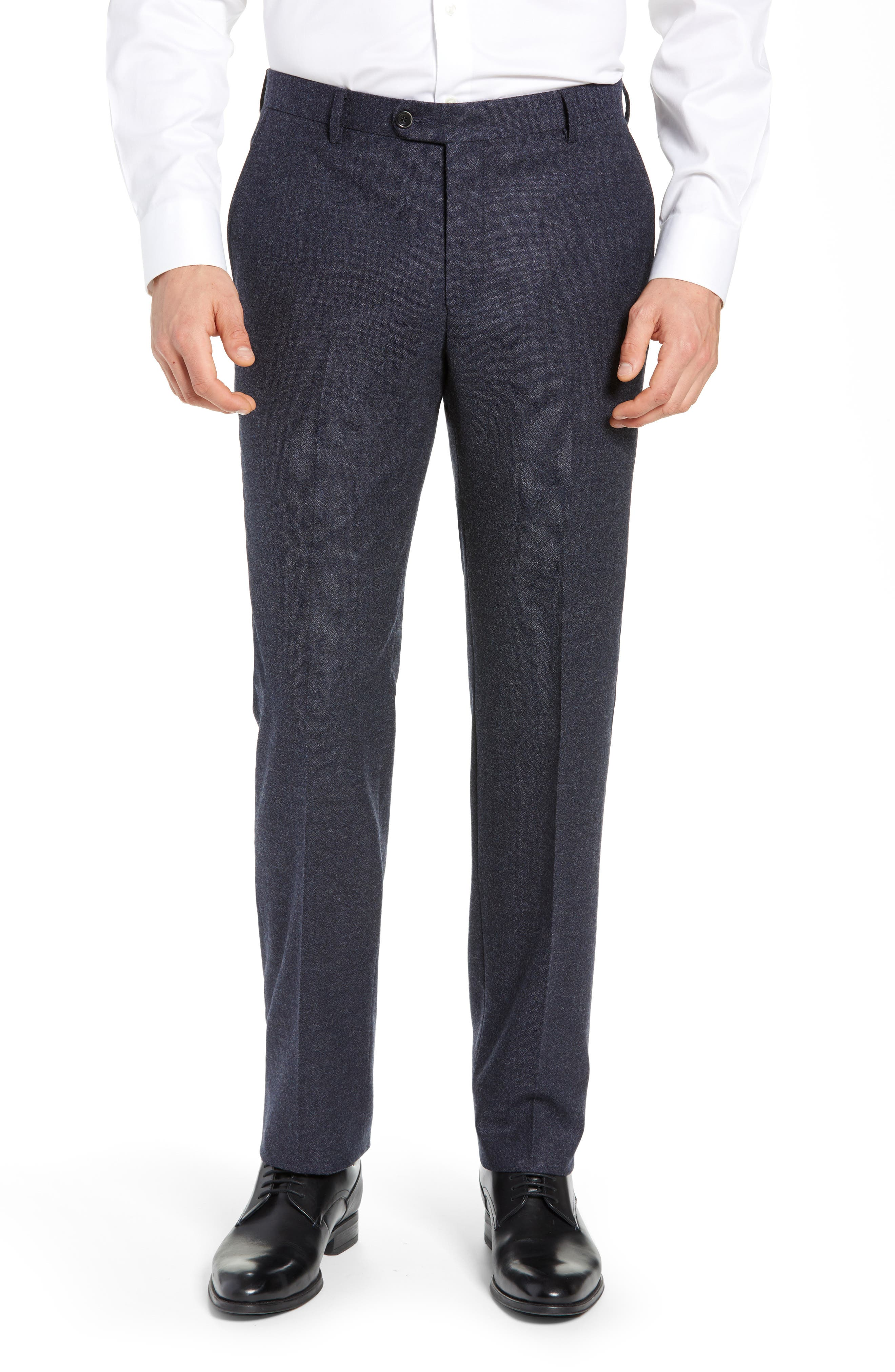 HICKEY FREEMAN Classic Fit Solid Trousers, Main, color, GREY