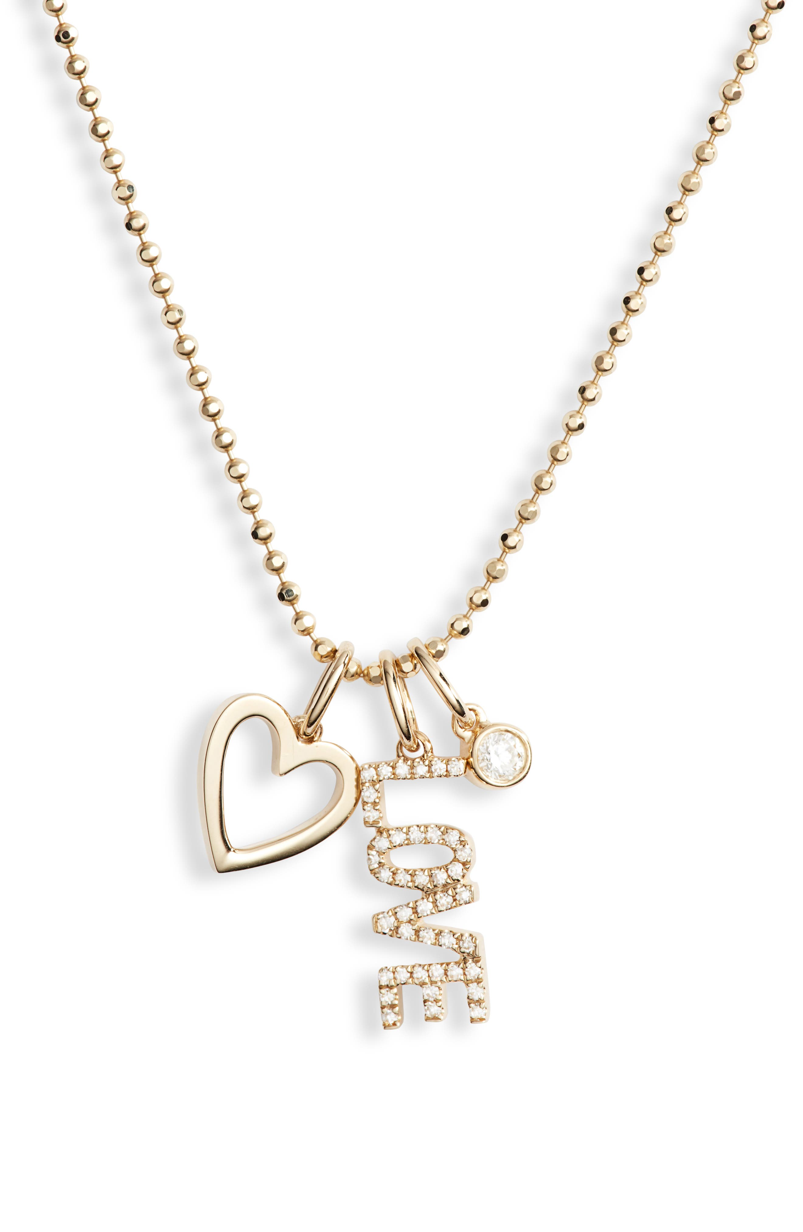 Diamond Love Charm Necklace,                             Alternate thumbnail 2, color,                             YELLOW GOLD/ DIAMOND