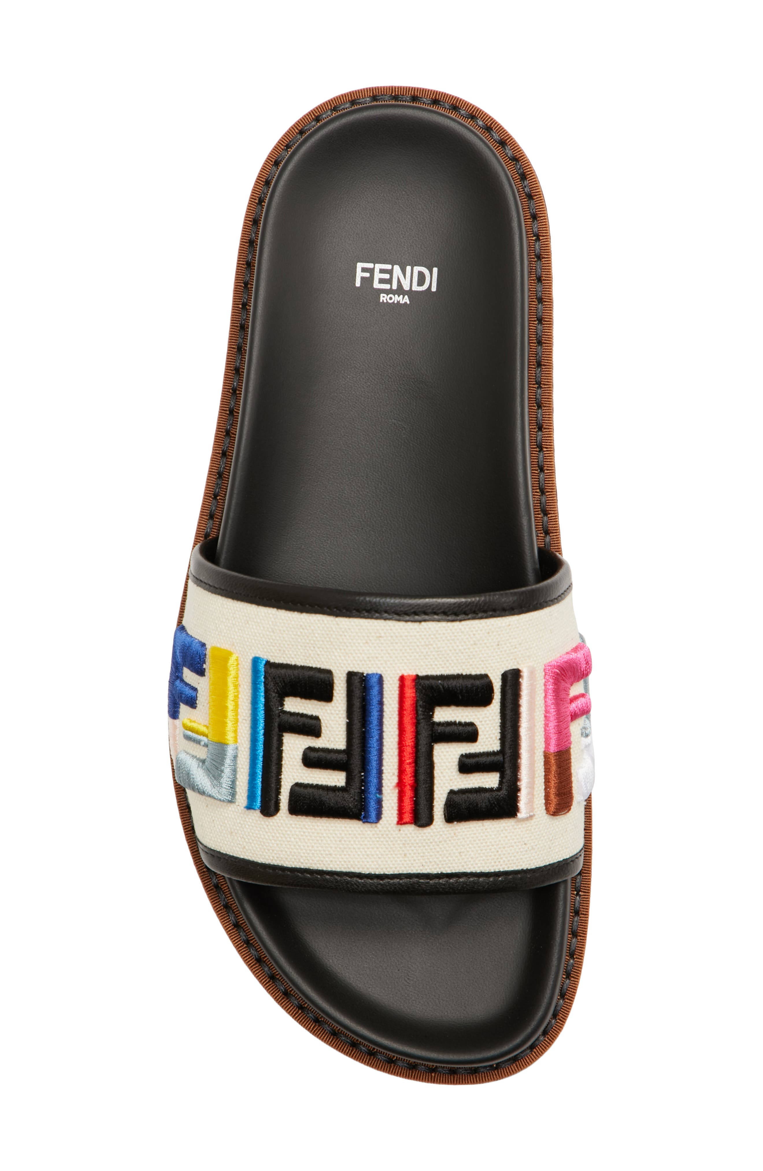 Fun Fendi Logo Slide Sandal,                             Alternate thumbnail 5, color,                             100