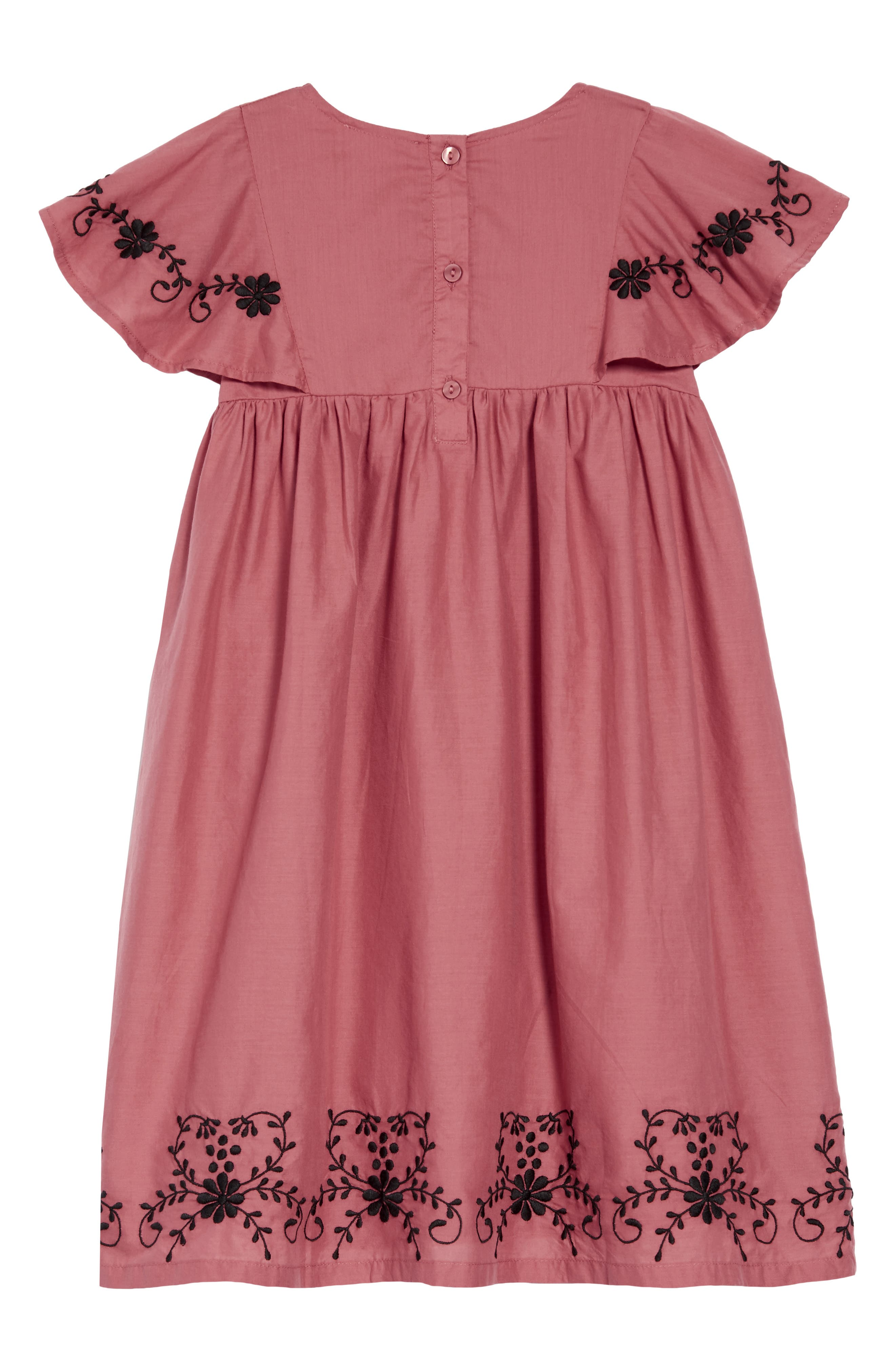 Embroidered Flowy Dress,                             Alternate thumbnail 2, color,                             PINK CEDAR