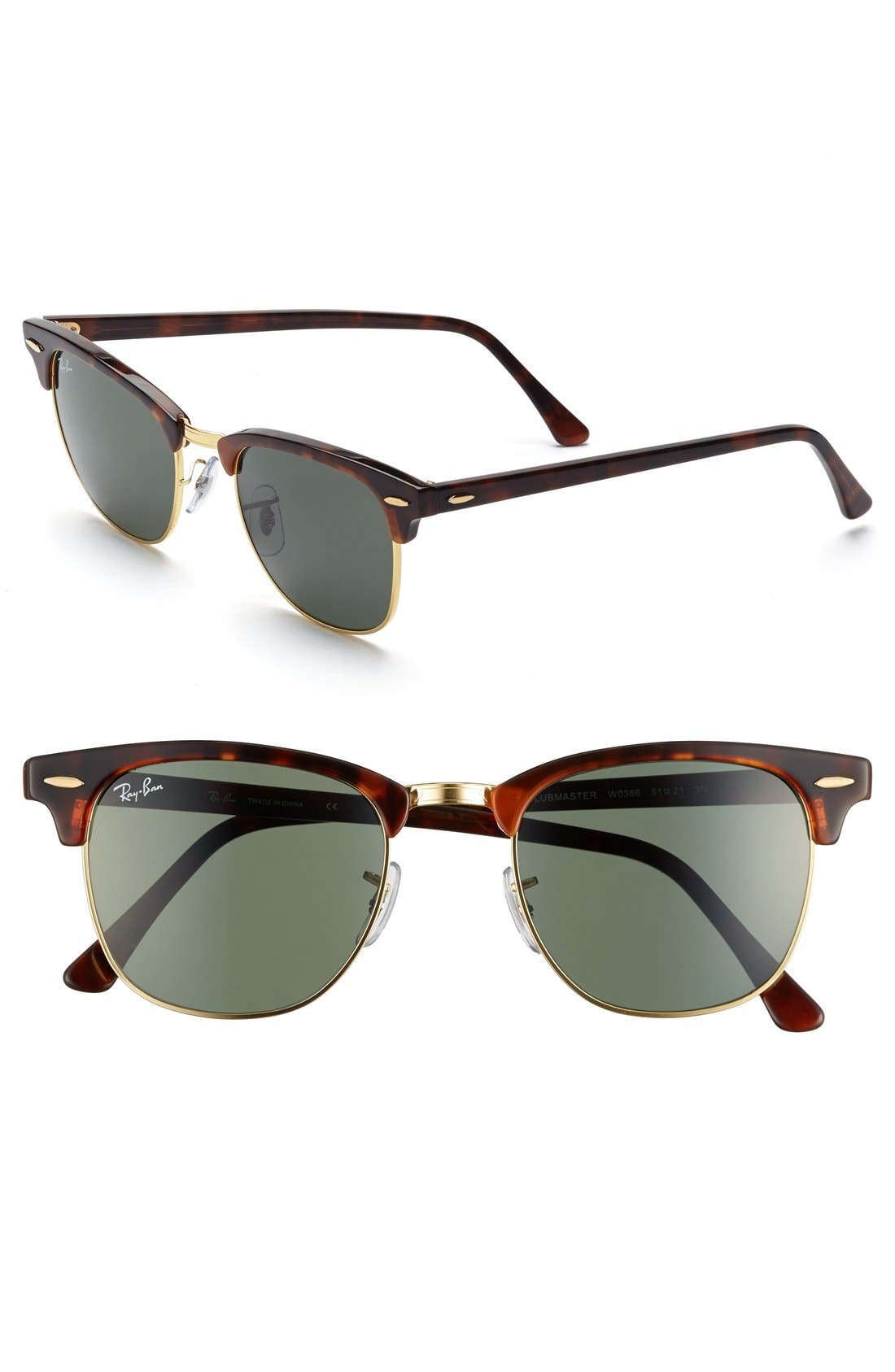 RAY-BAN Classic Clubmaster 51mm Sunglasses, Main, color, DARK TORTOISE/ GREEN