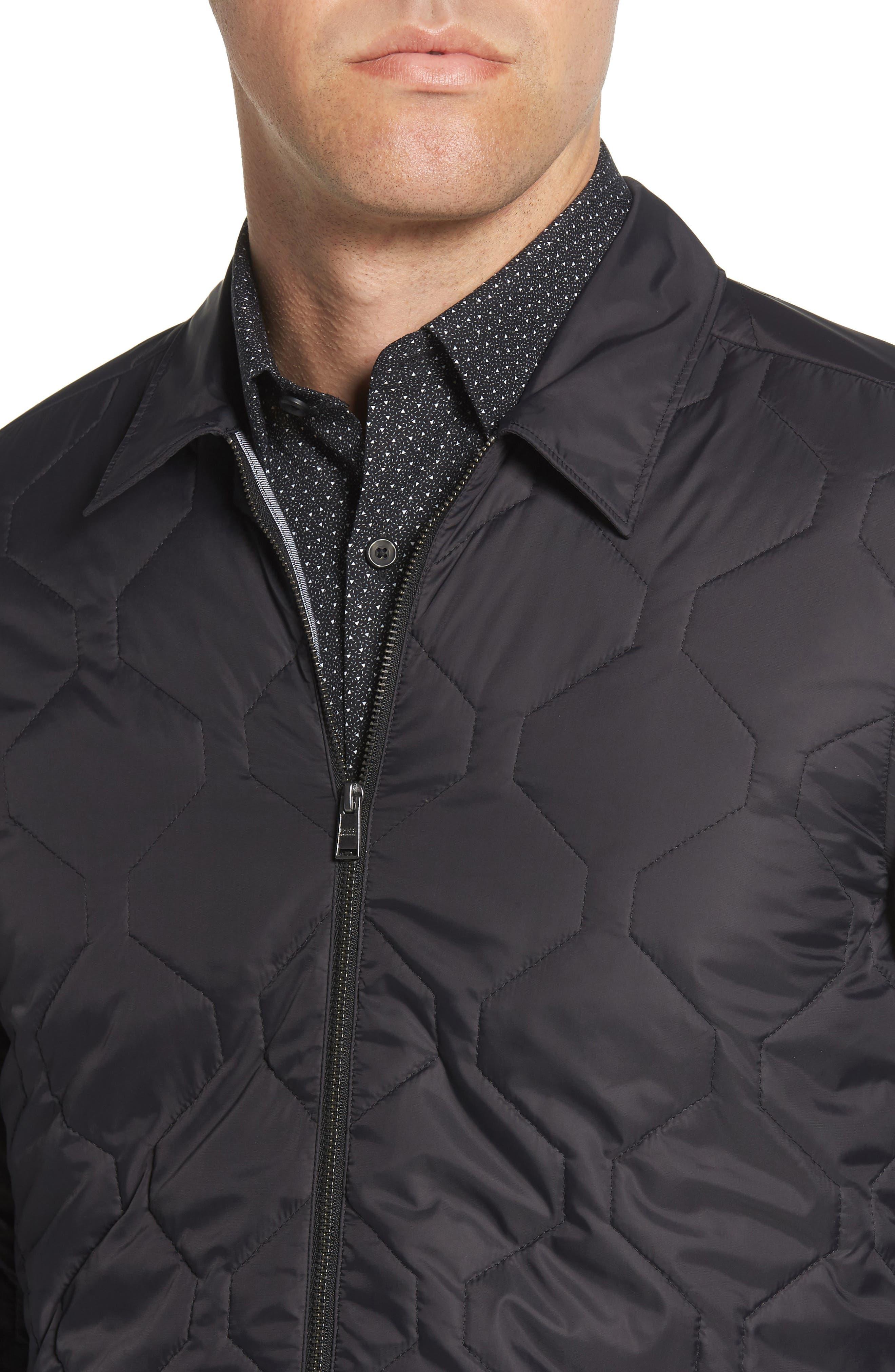 BOSS,                             Landolfo Regular Fit Quilted Jacket,                             Alternate thumbnail 4, color,                             BLACK
