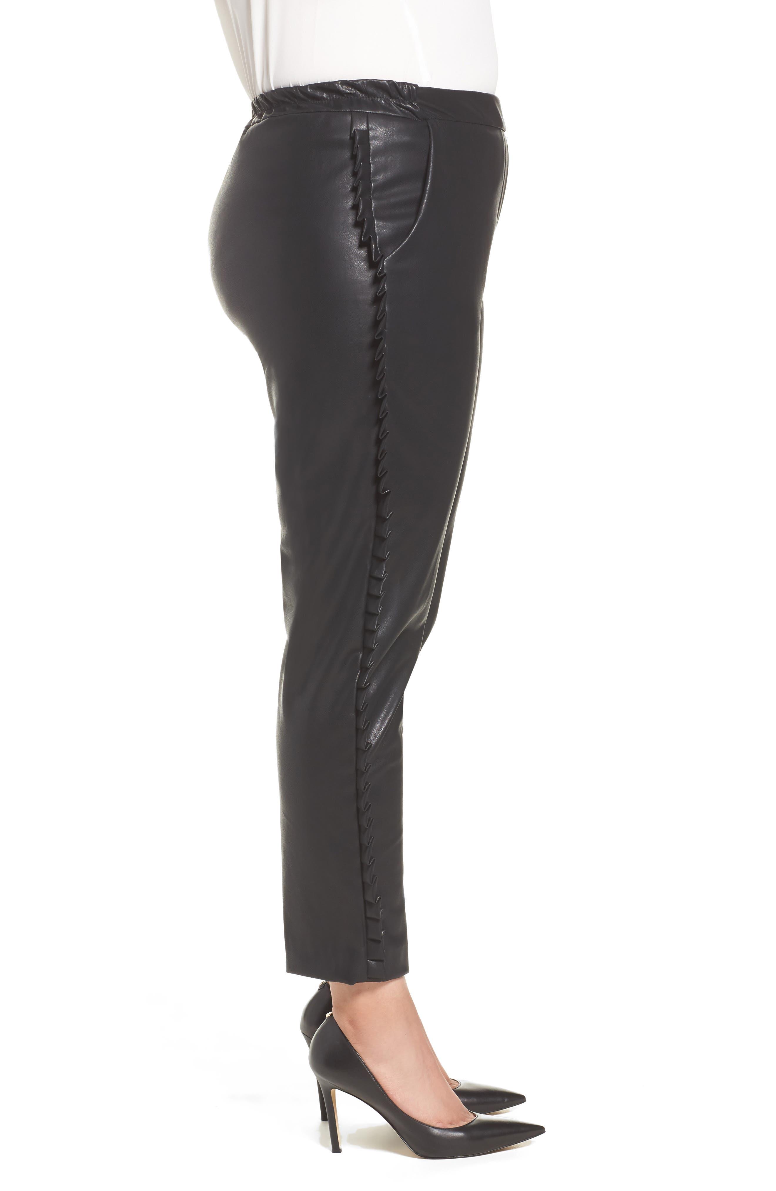 Frill Trim Faux Leather Pants,                             Alternate thumbnail 3, color,