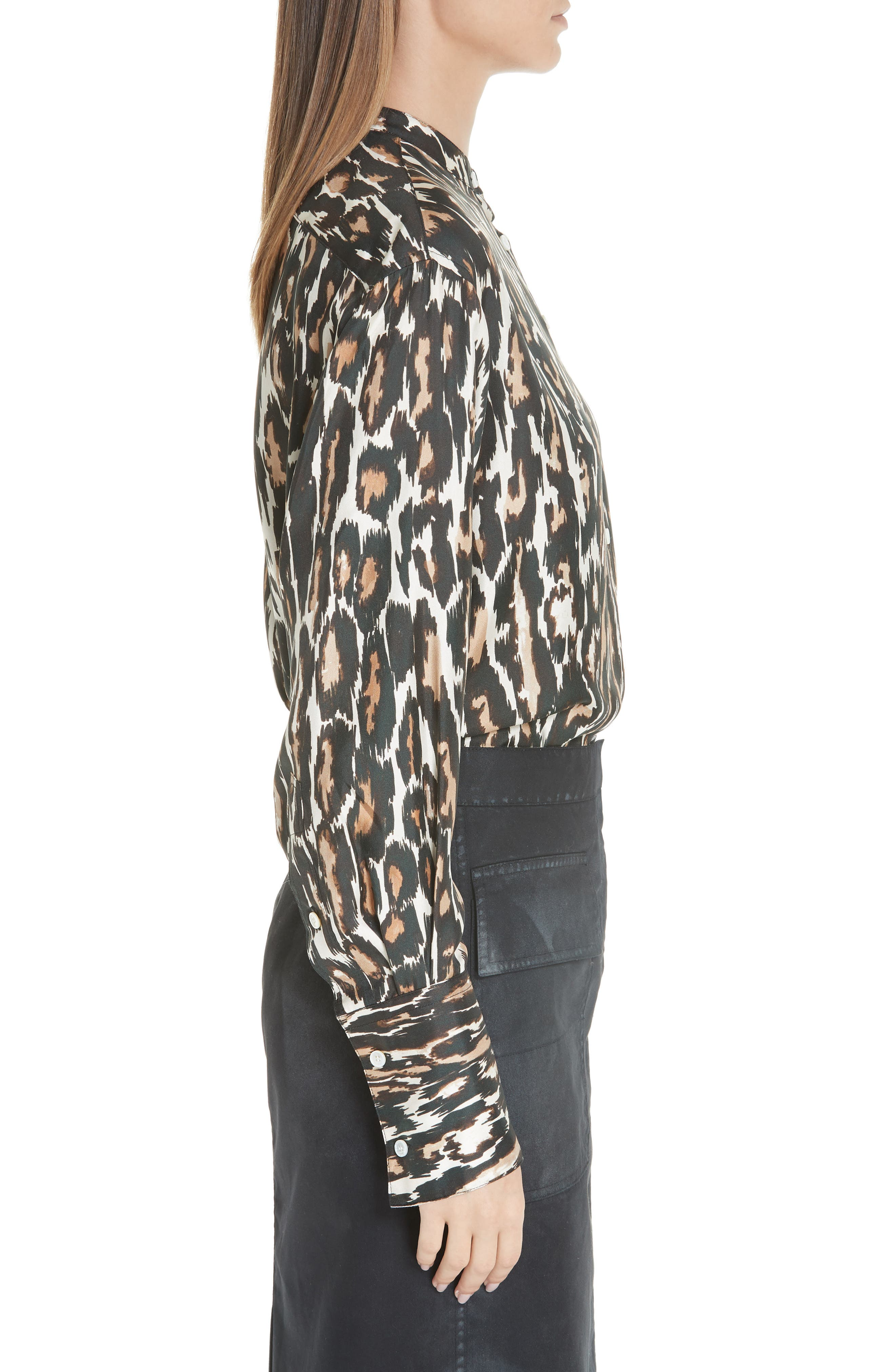 Leopard Print Silk Twill Blouse,                             Alternate thumbnail 3, color,                             IVORY BROWN BLACK BEIGE