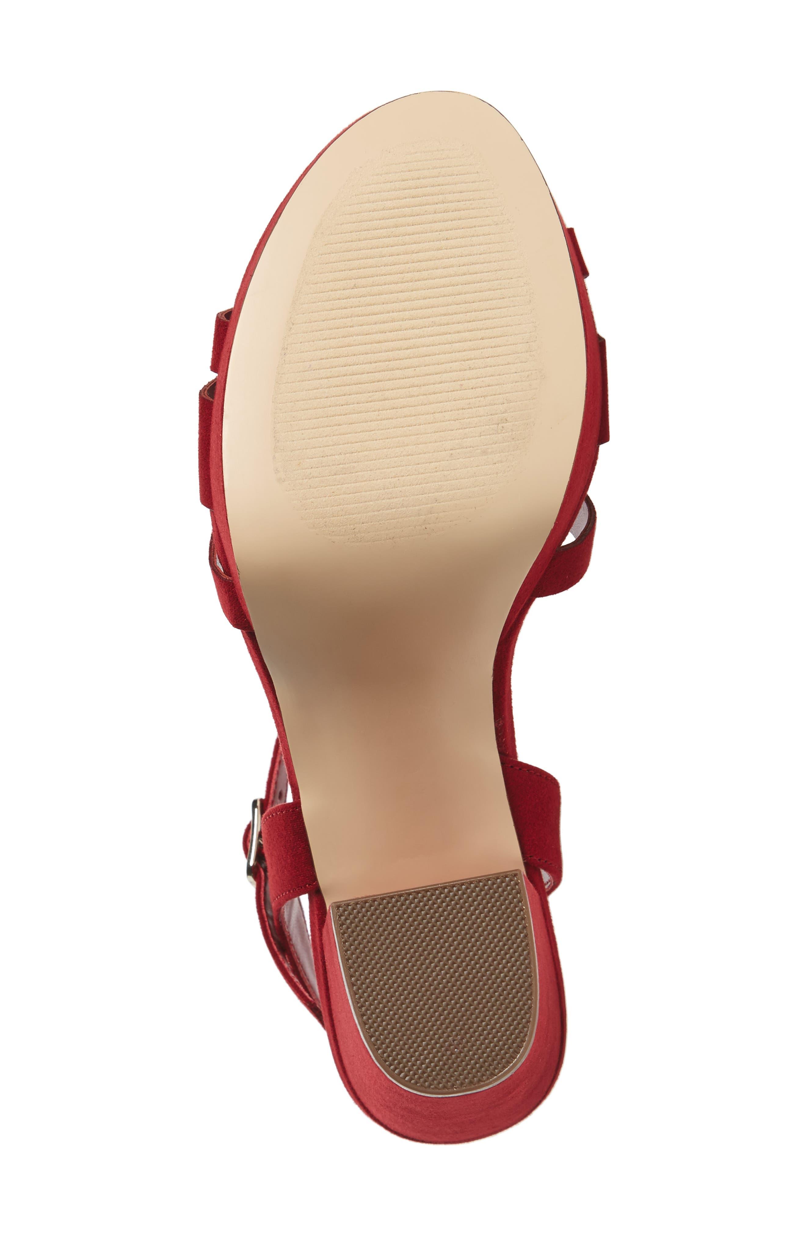 Paxx Platform Sandal,                             Alternate thumbnail 6, color,                             RED FAUX SUEDE
