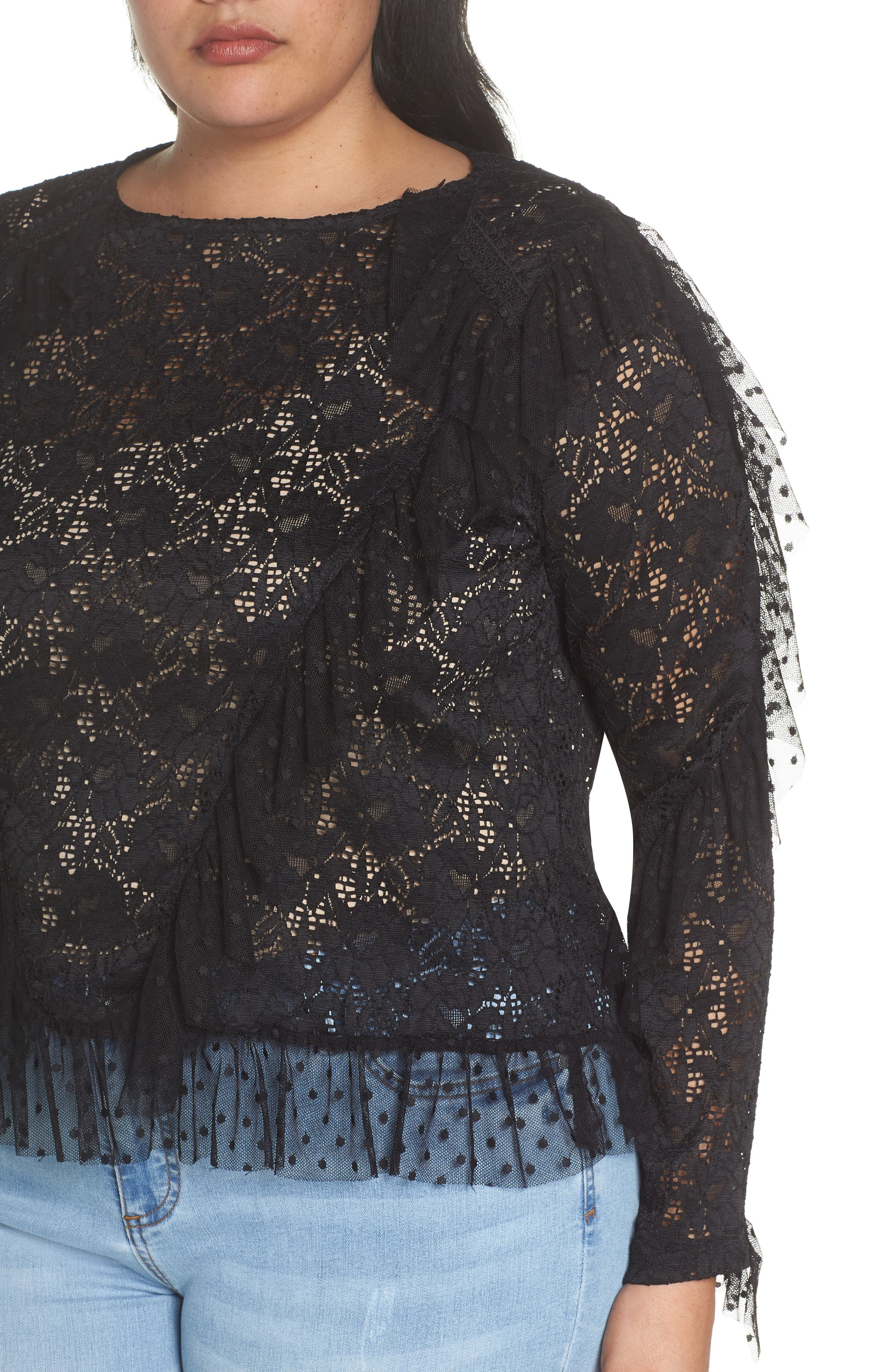 LOST INK,                             Ruffle Trim Lace Top,                             Alternate thumbnail 4, color,                             001