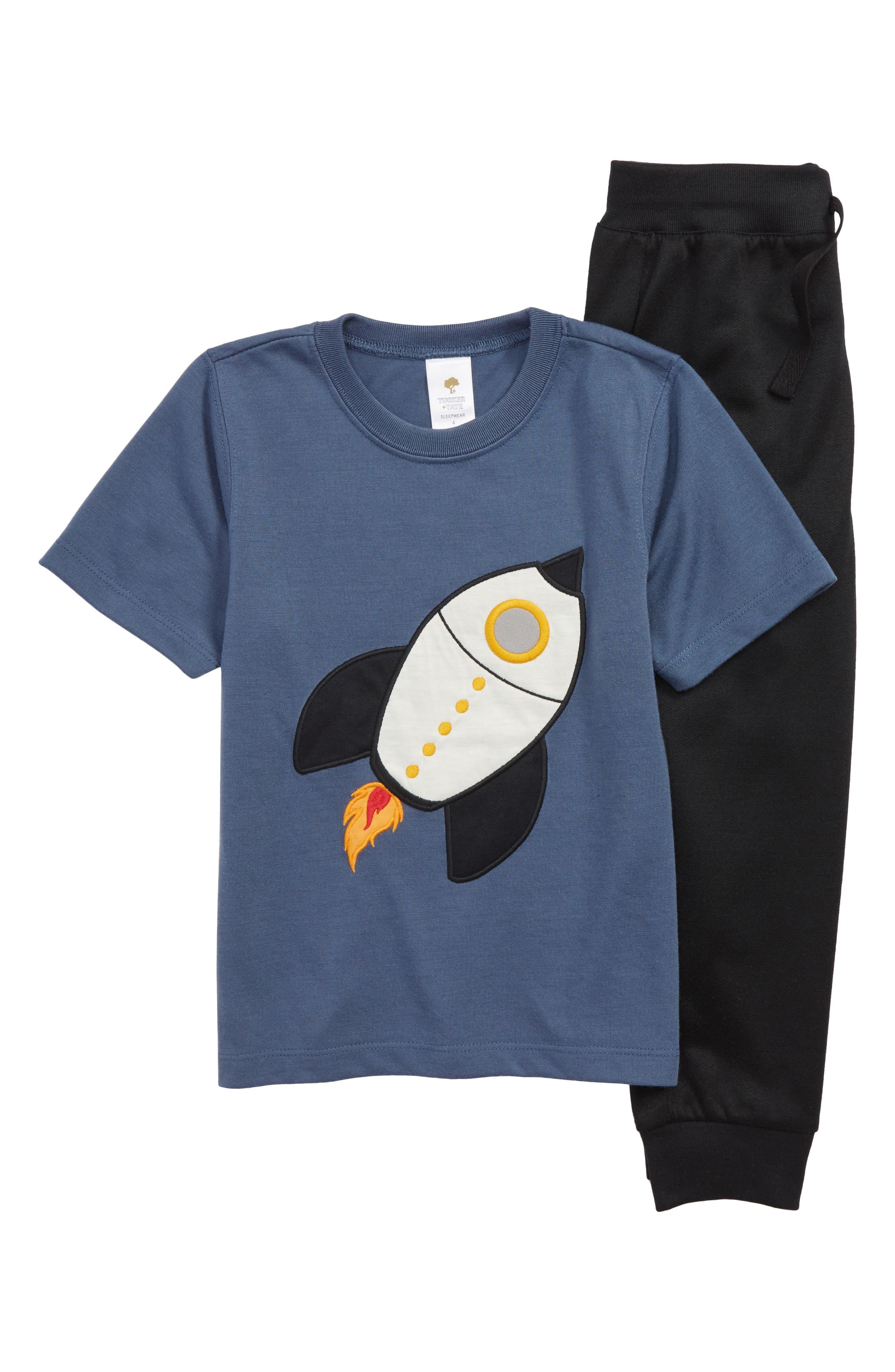 Appliqué Two-Piece Pajamas,                             Main thumbnail 1, color,                             BLUE VINTAGE ROCKET