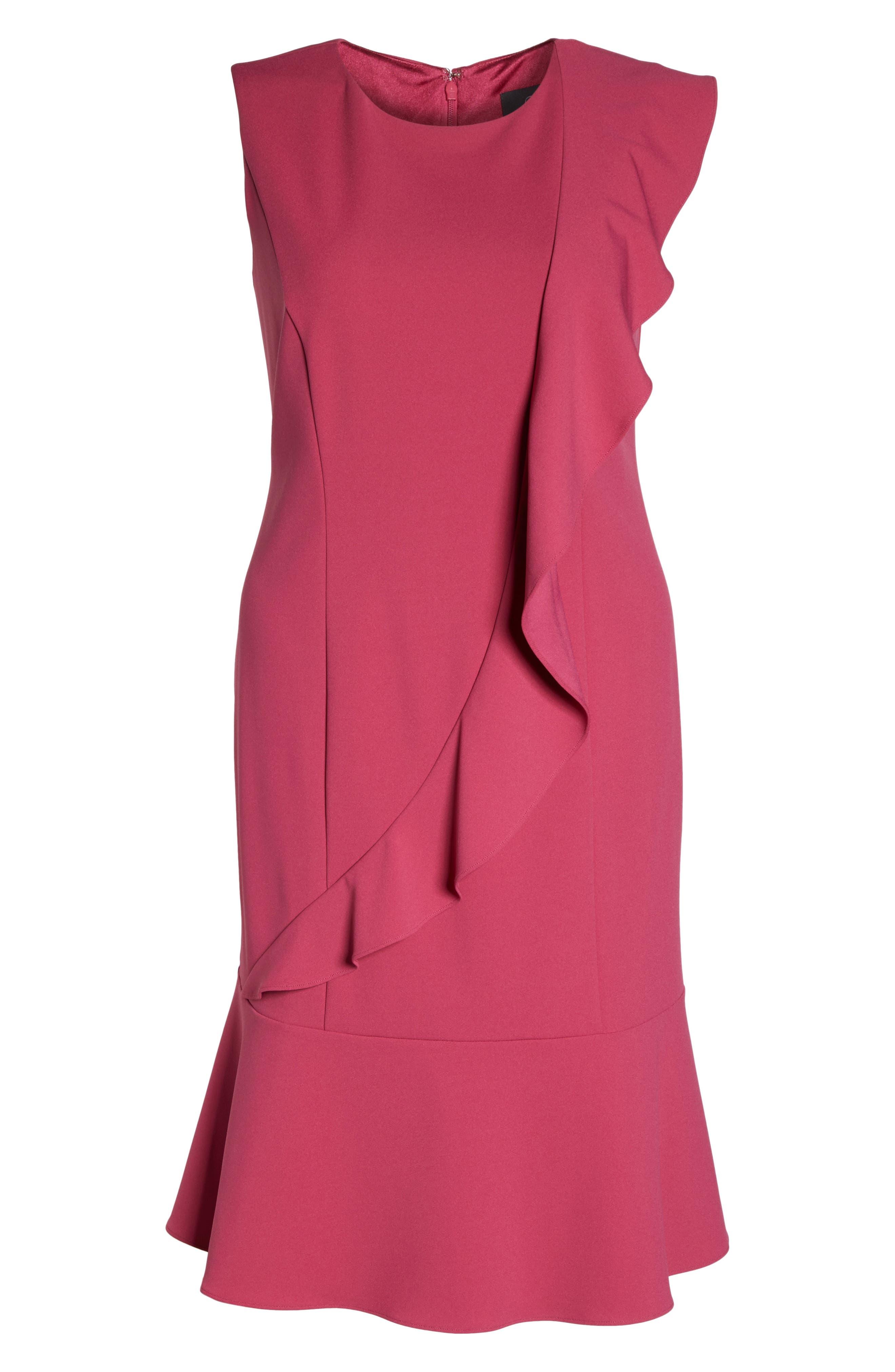 Knit Crepe Drop Waist Dress,                             Alternate thumbnail 6, color,                             655