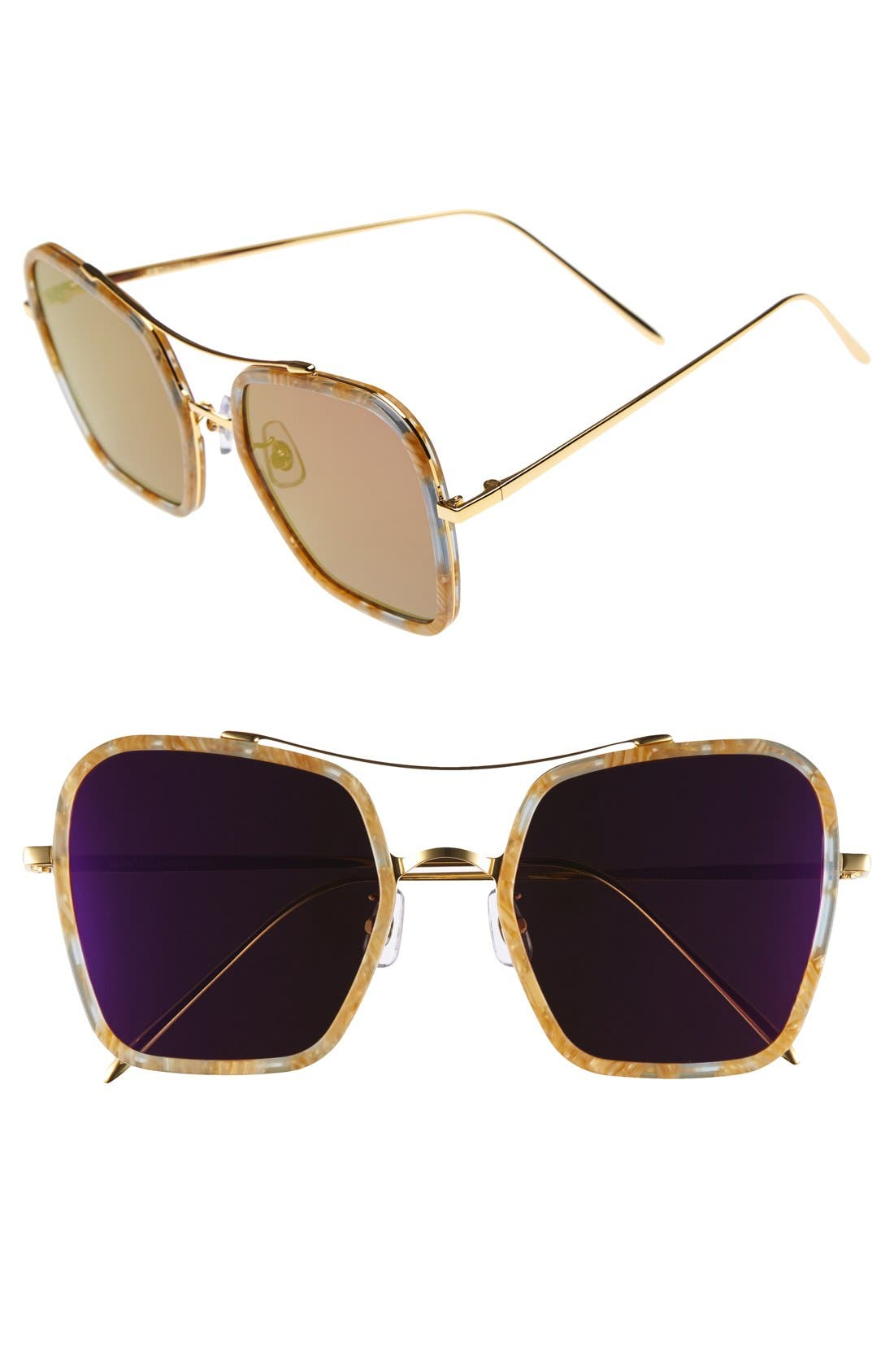 53mm Retro Square Sunglasses,                             Main thumbnail 1, color,                             200
