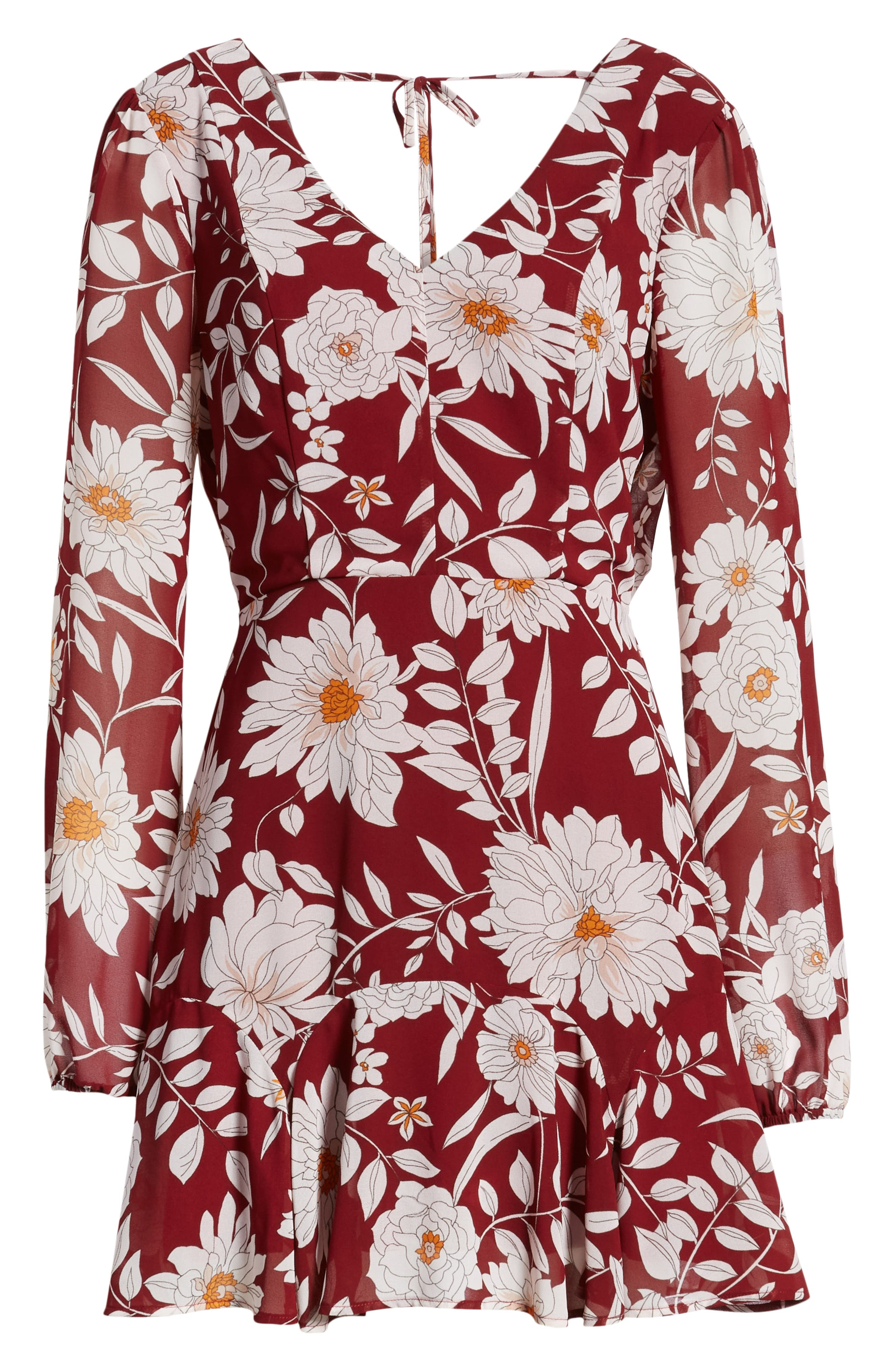 ROW A,                             Floral Print Minidress,                             Alternate thumbnail 6, color,                             RED FLORAL