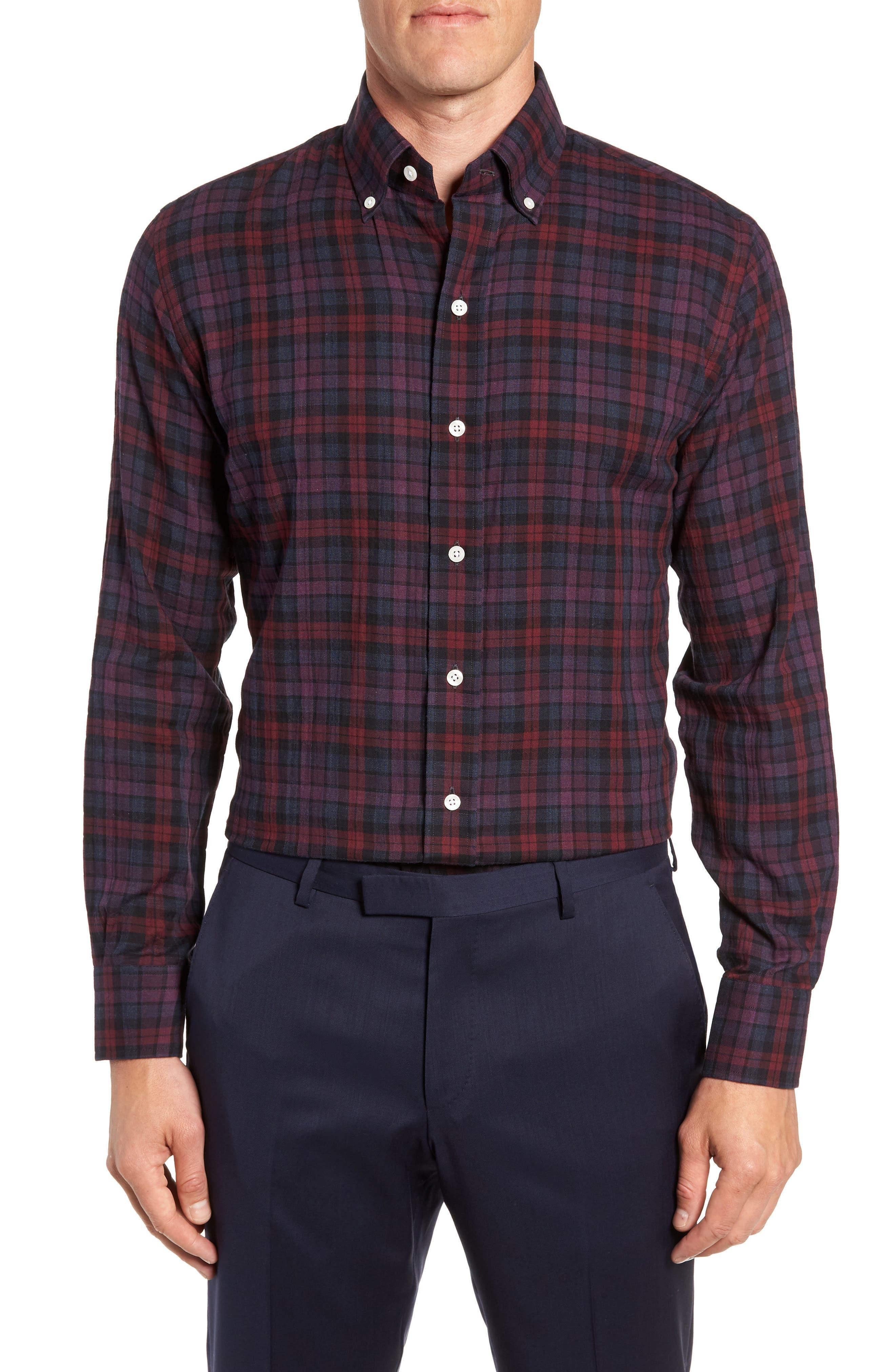 LEDBURY Torello Trim Fit Plaid Dress Shirt in Plum