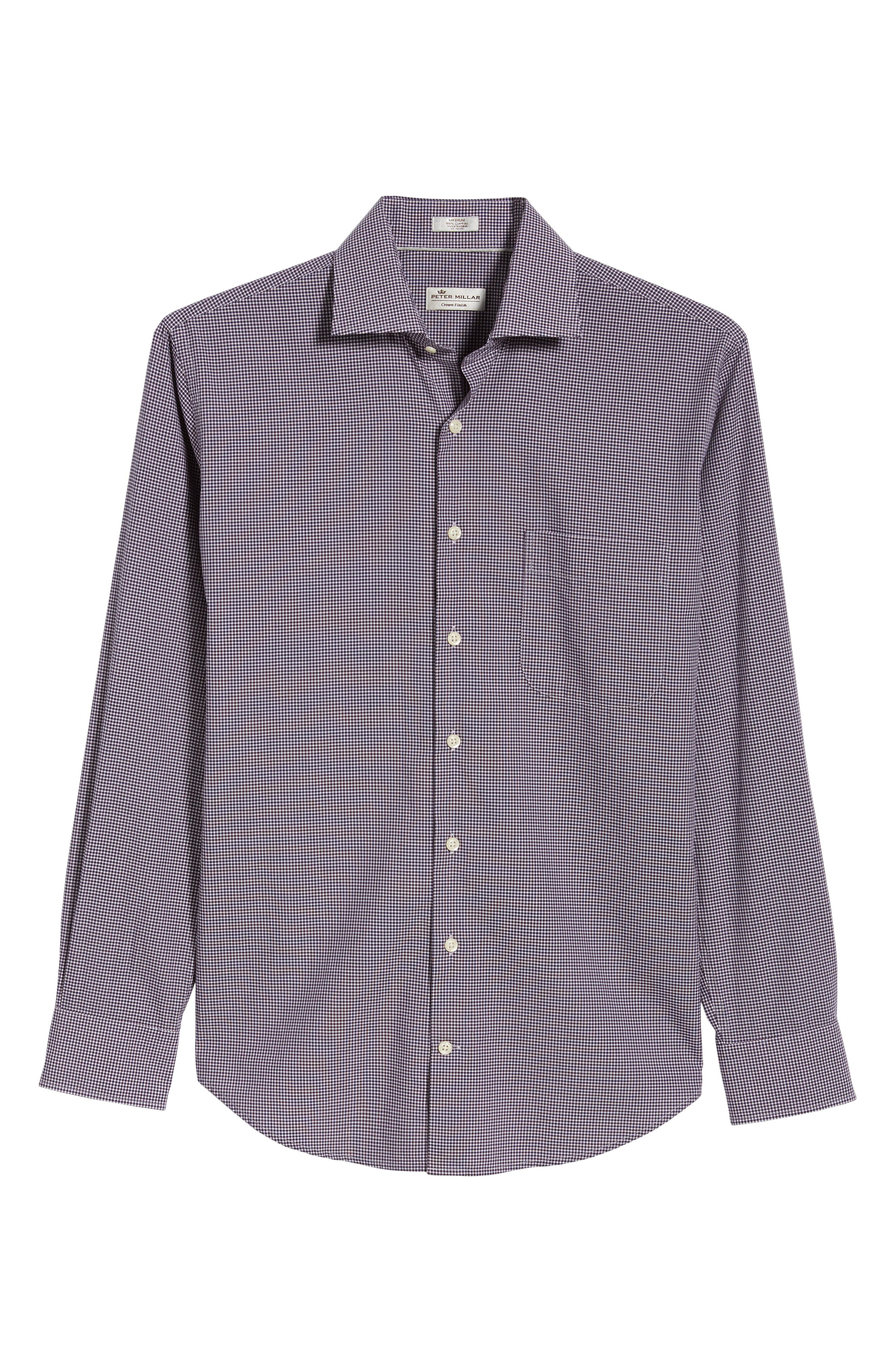 Crown Finish Wedgwood Microcheck Sport Shirt,                             Alternate thumbnail 6, color,                             410