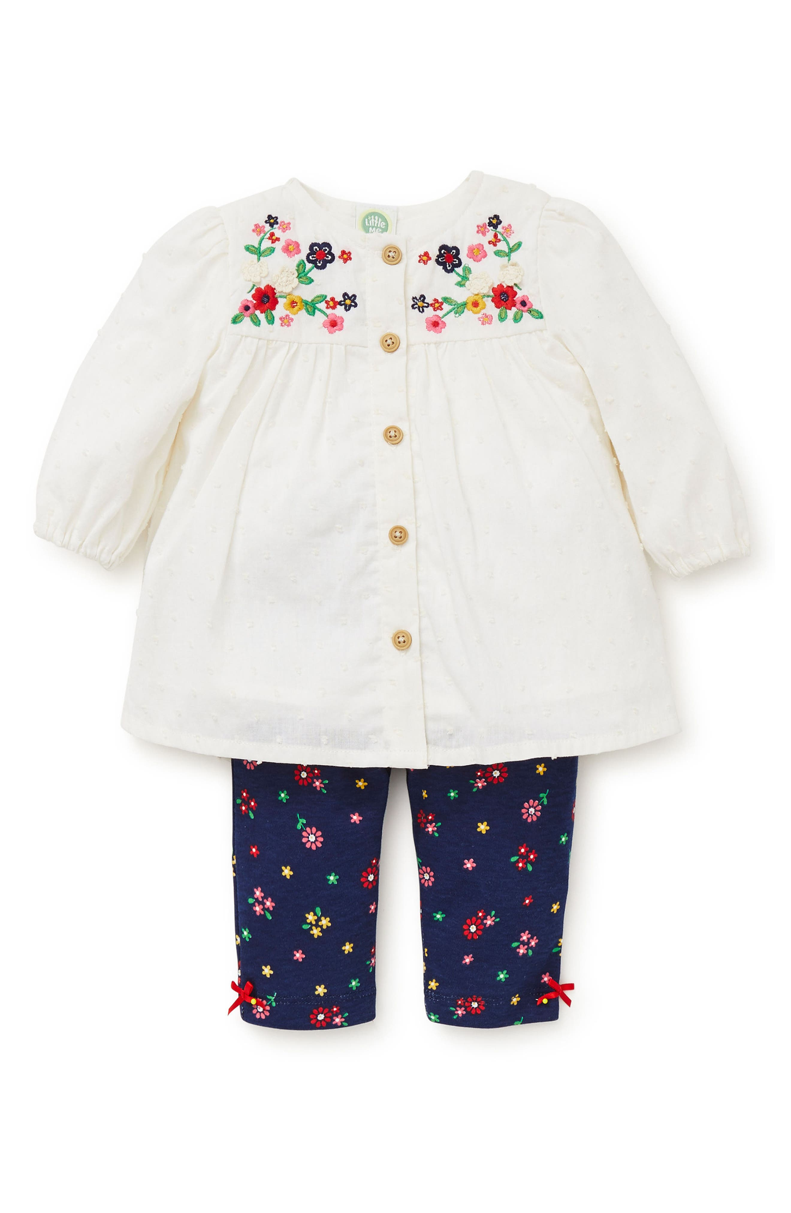 Floral Charm Embroidered Tunic & Leggings Set,                             Main thumbnail 1, color,                             479