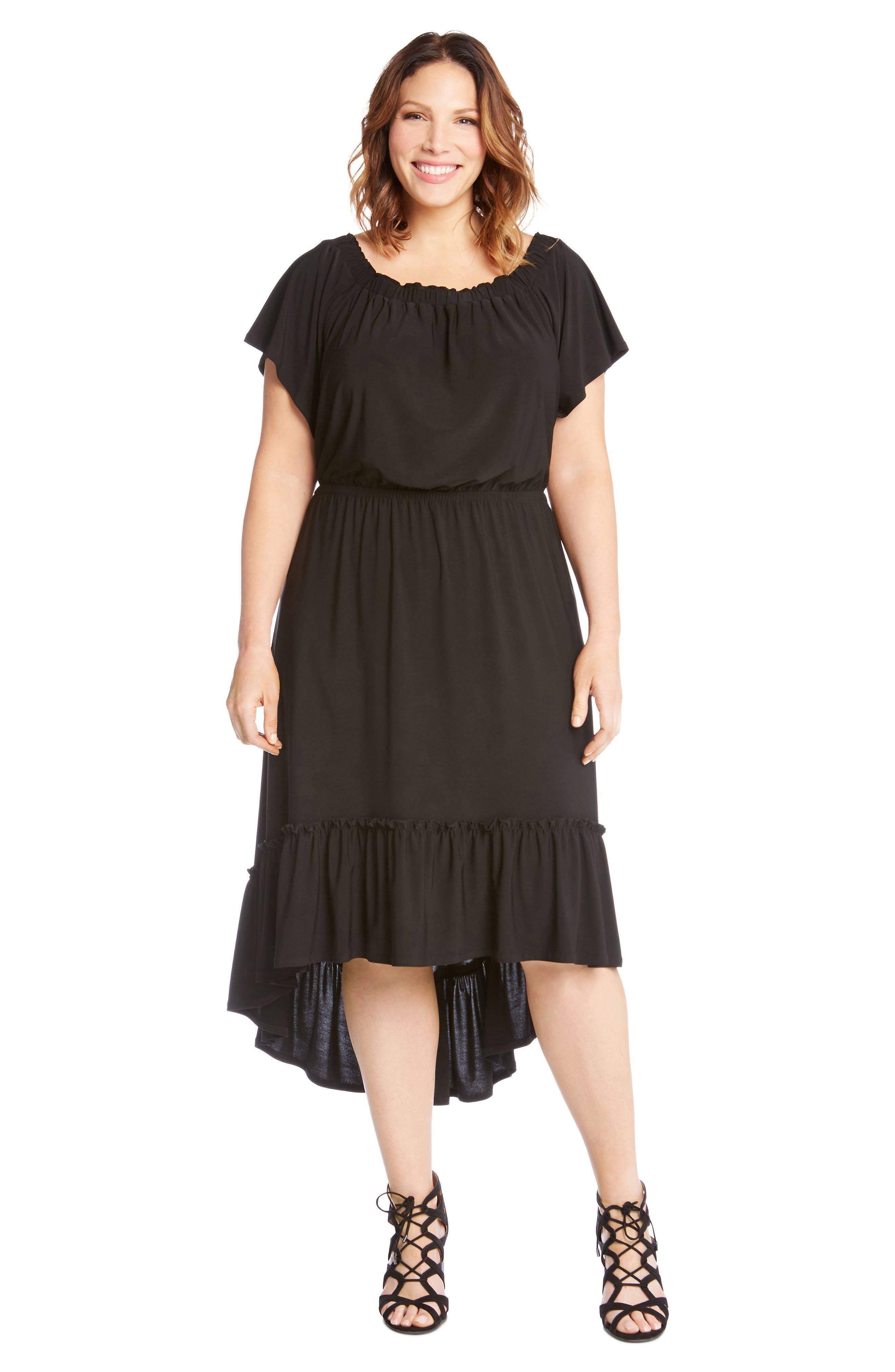 Ruffle Hem Off the Shoulder Dress,                             Alternate thumbnail 5, color,                             001