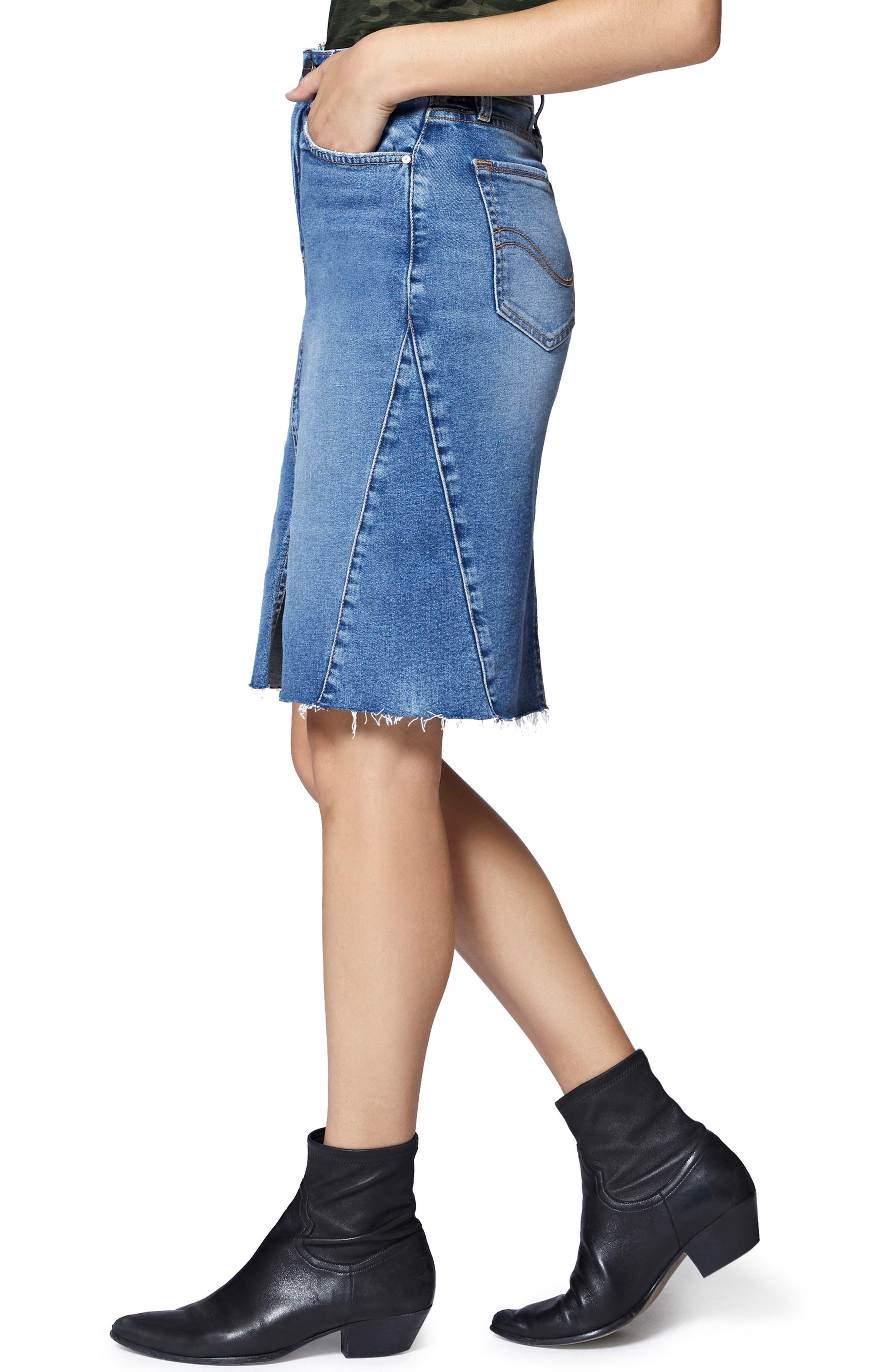 Sia A-Line Denim Skirt,                             Alternate thumbnail 3, color,                             FLAT IRON RIGID