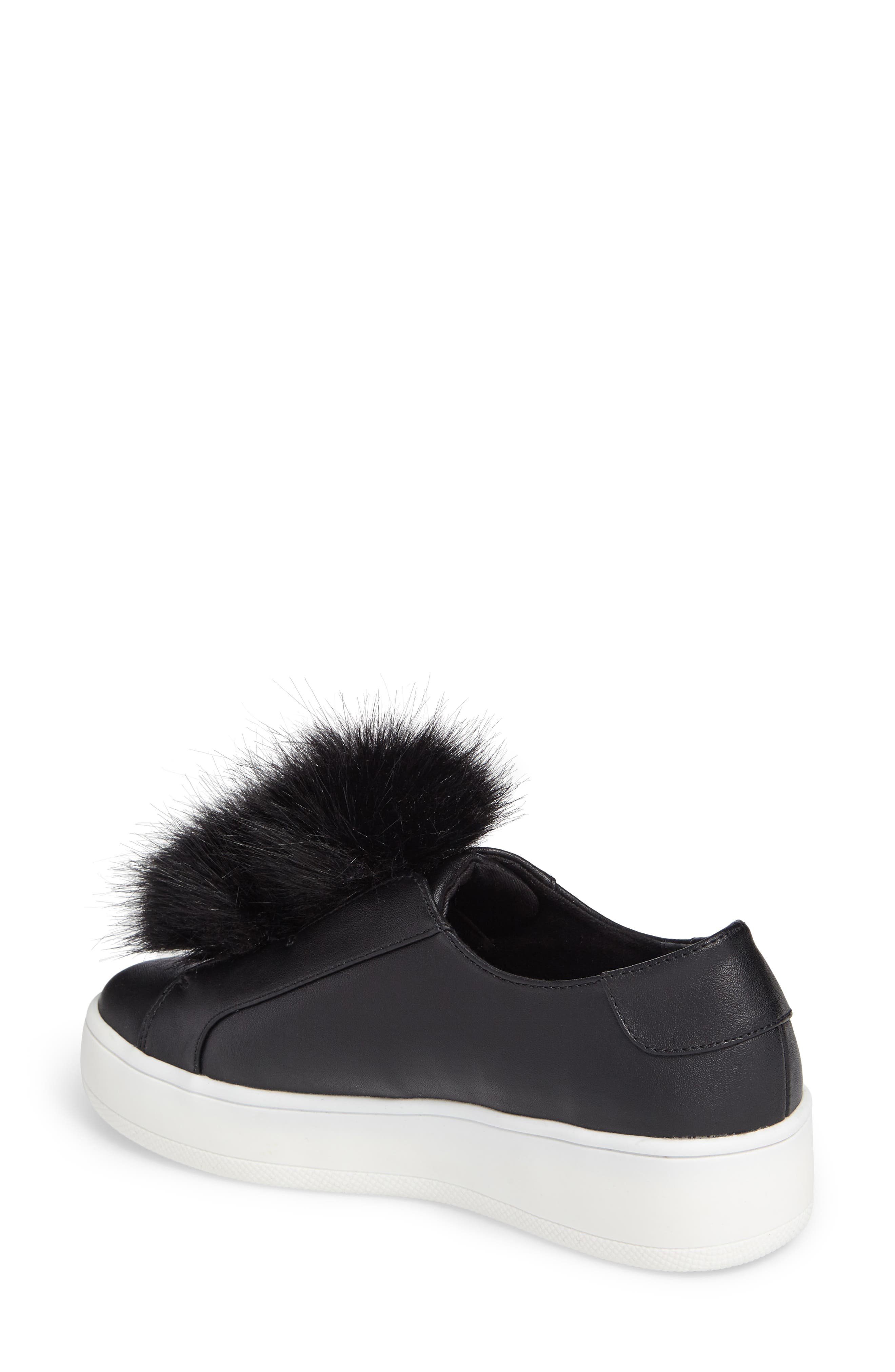 Breeze Faux Fur Pom Sneaker,                             Alternate thumbnail 2, color,                             001