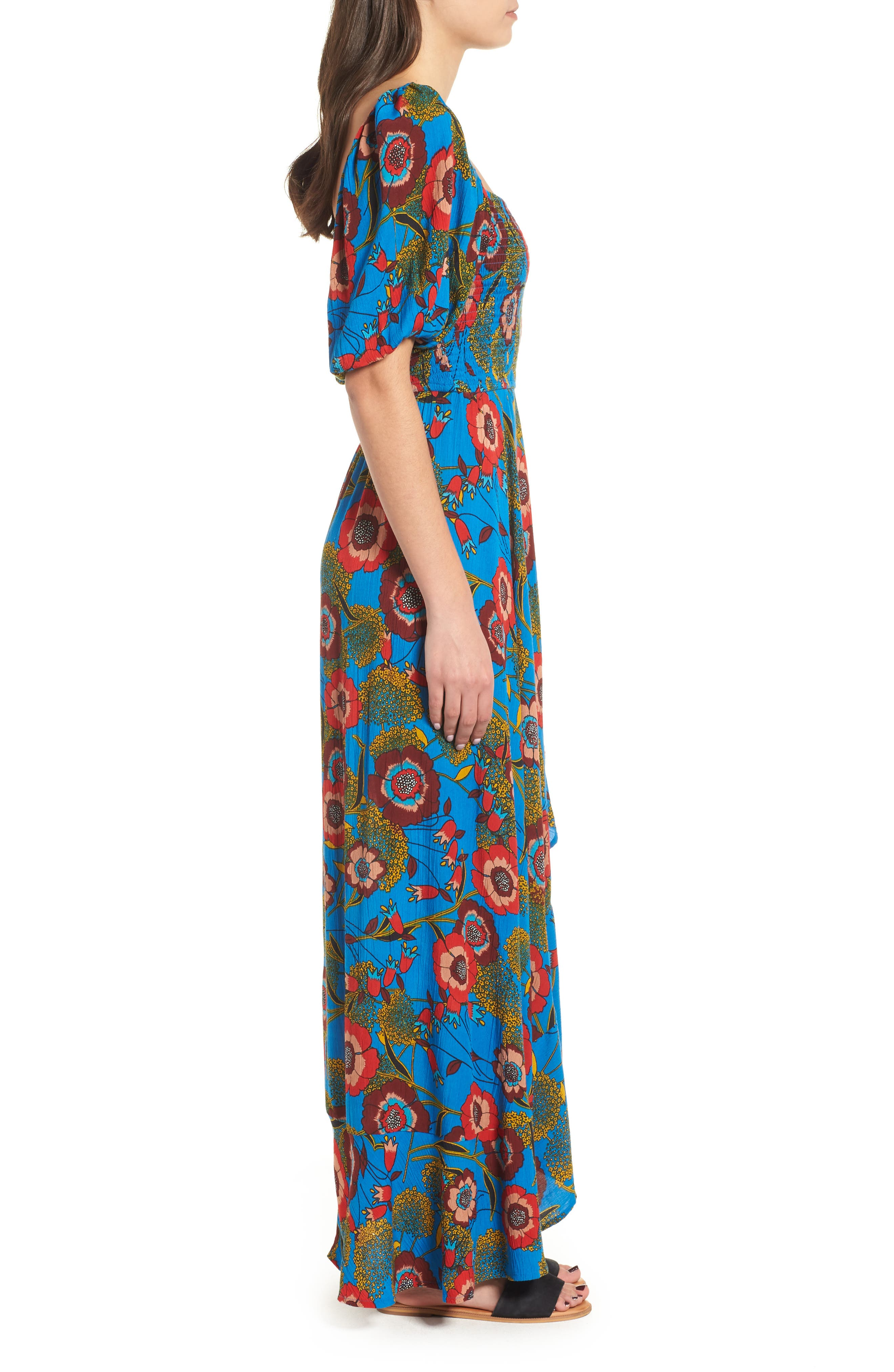 Heirloom Blossom Maxi Dress,                             Alternate thumbnail 3, color,                             ROYAL/ BLUE/ RED