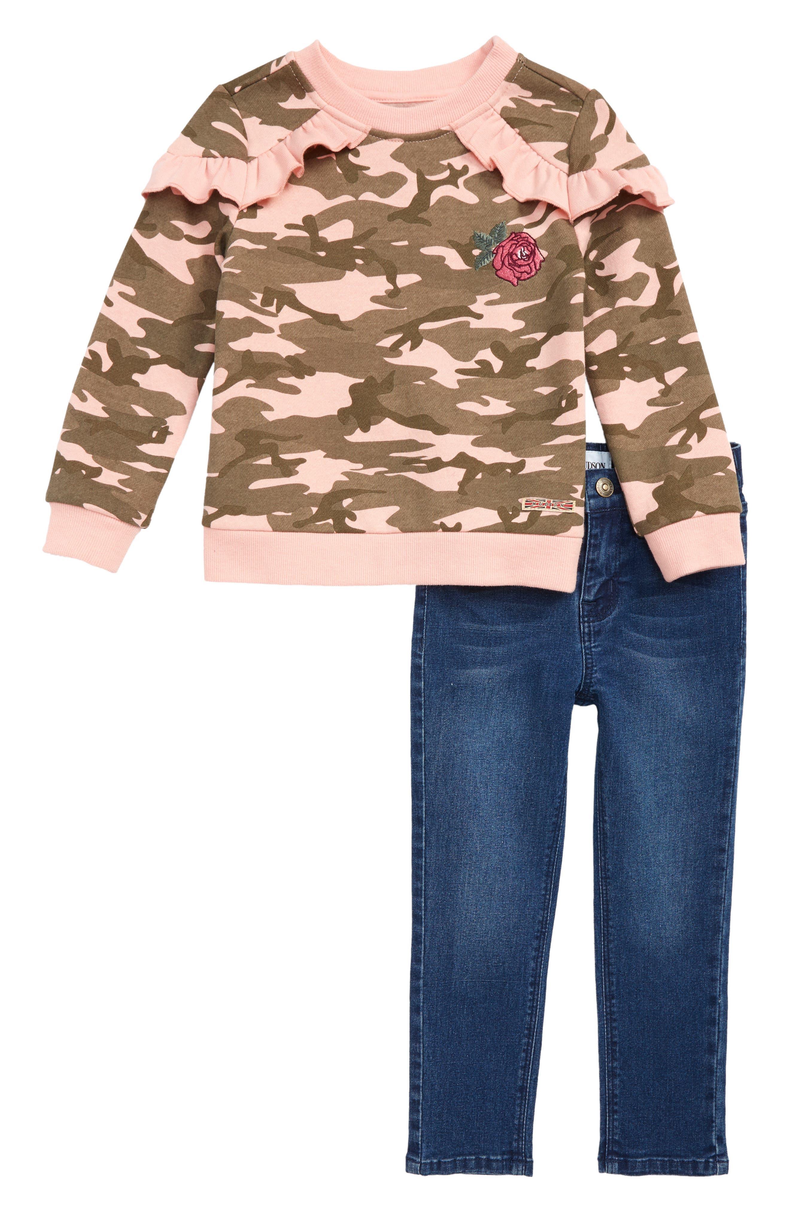 Toddler Girls Hudson Kids TwoPiece Sweatshirt  Jeans Set