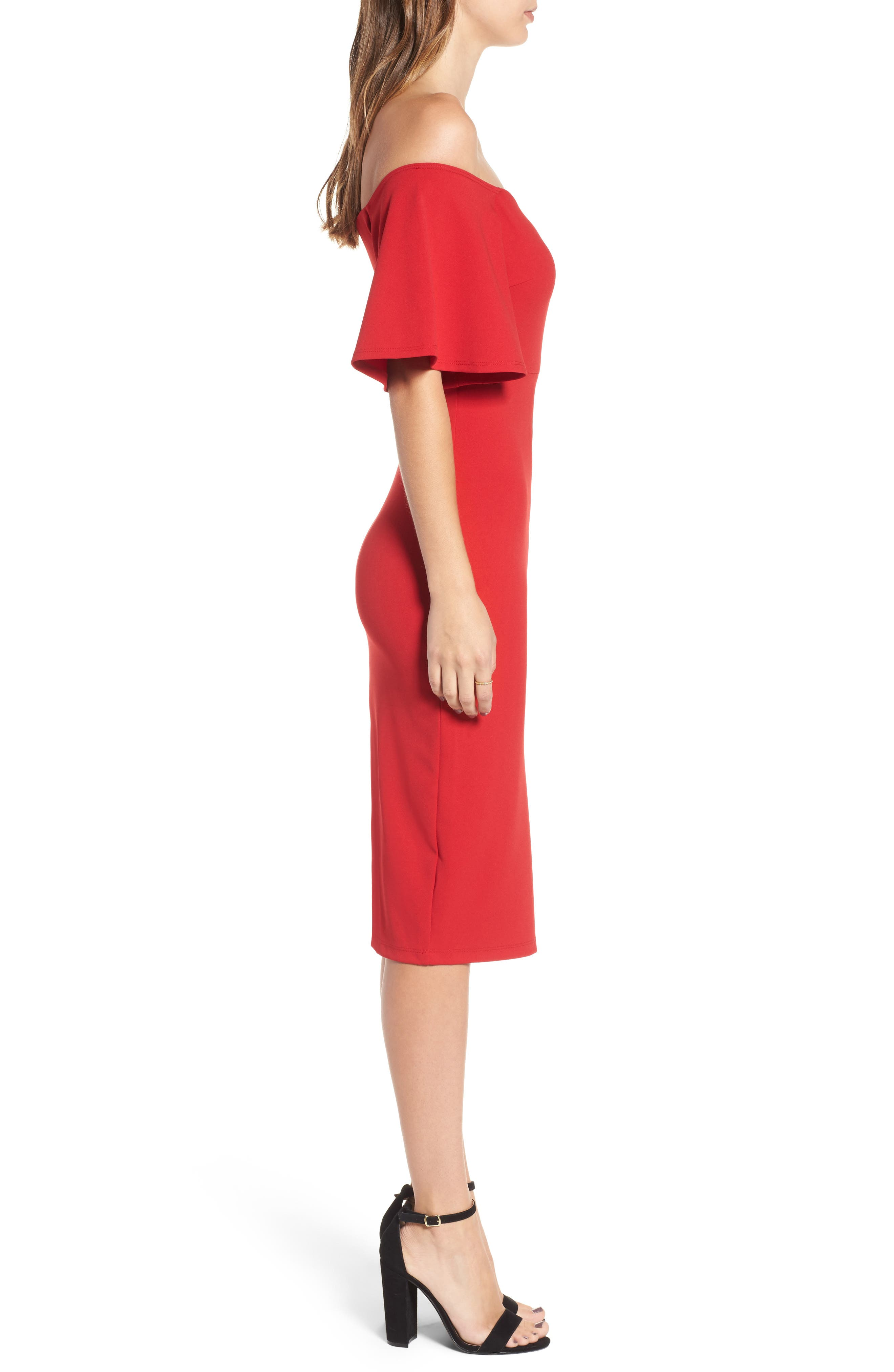 Off the Shoulder Ponte Body-Con Dress,                             Alternate thumbnail 6, color,