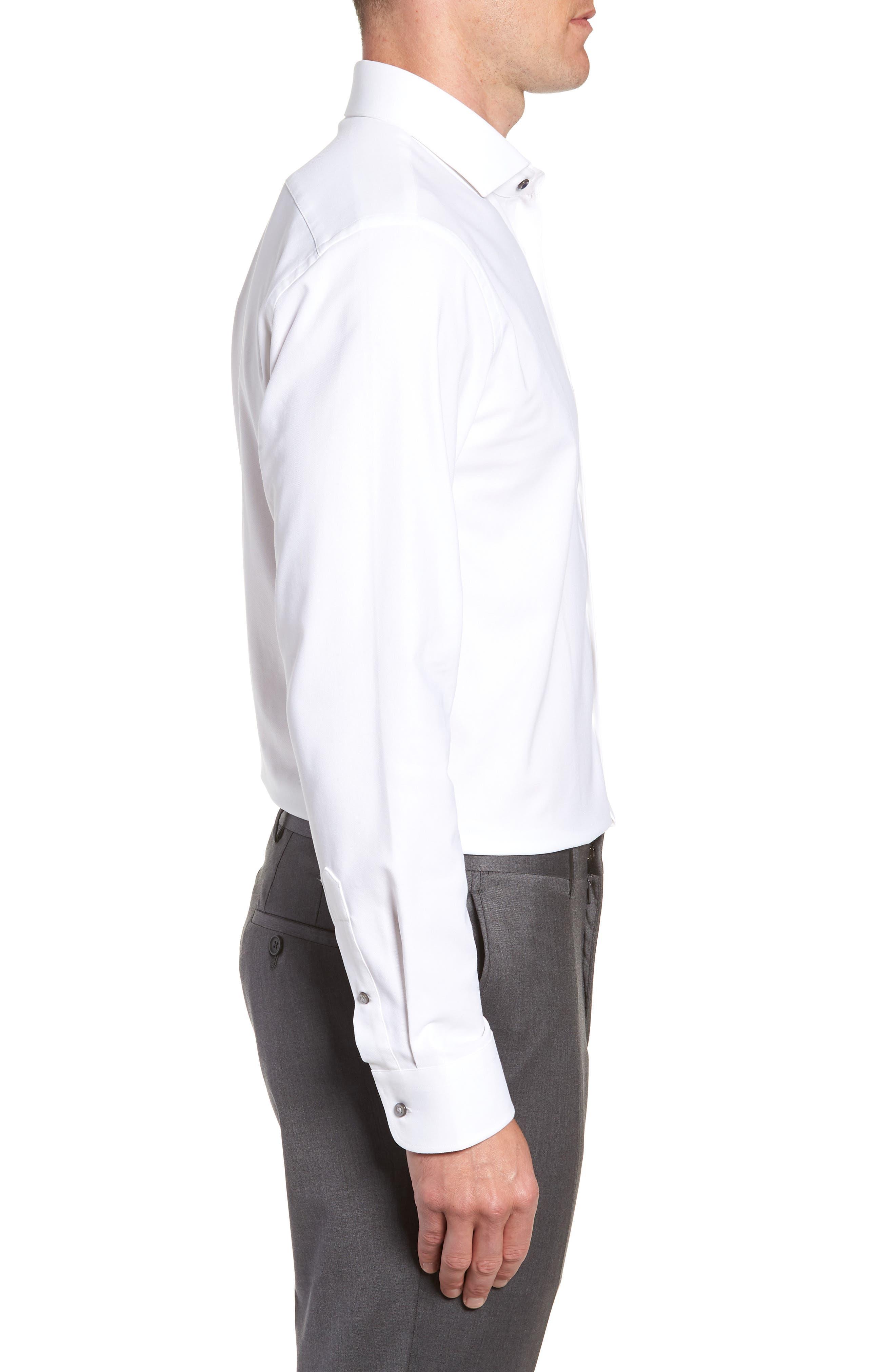 Tech-Smart Trim Fit Stretch Texture Dress Shirt,                             Alternate thumbnail 4, color,                             WHITE