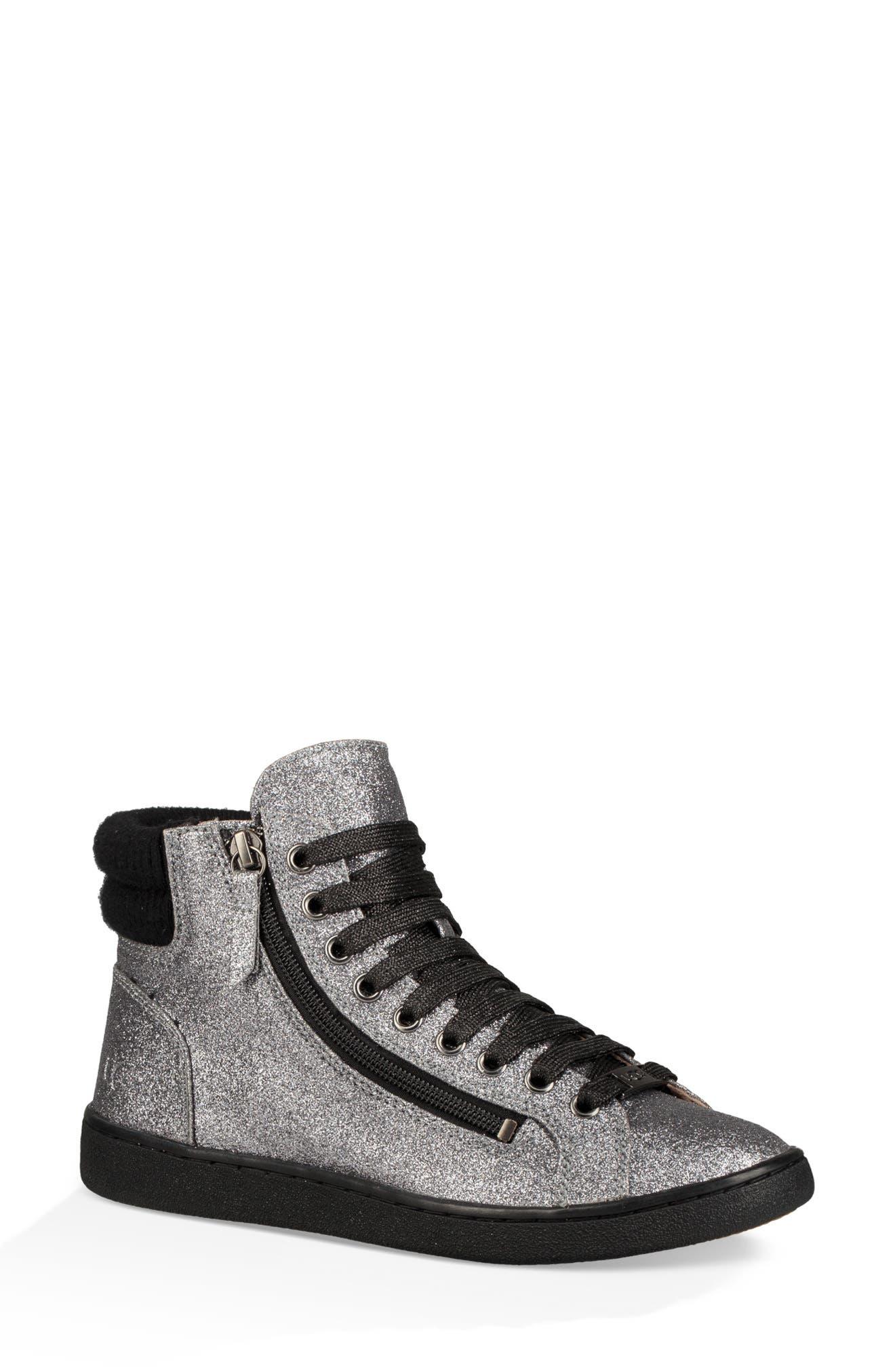 Olive Glitter Sneaker,                             Main thumbnail 1, color,                             GUNMETAL FABRIC