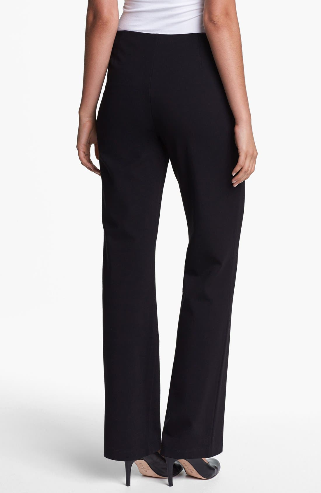 Straight Leg Ponte Pants,                             Alternate thumbnail 4, color,                             001