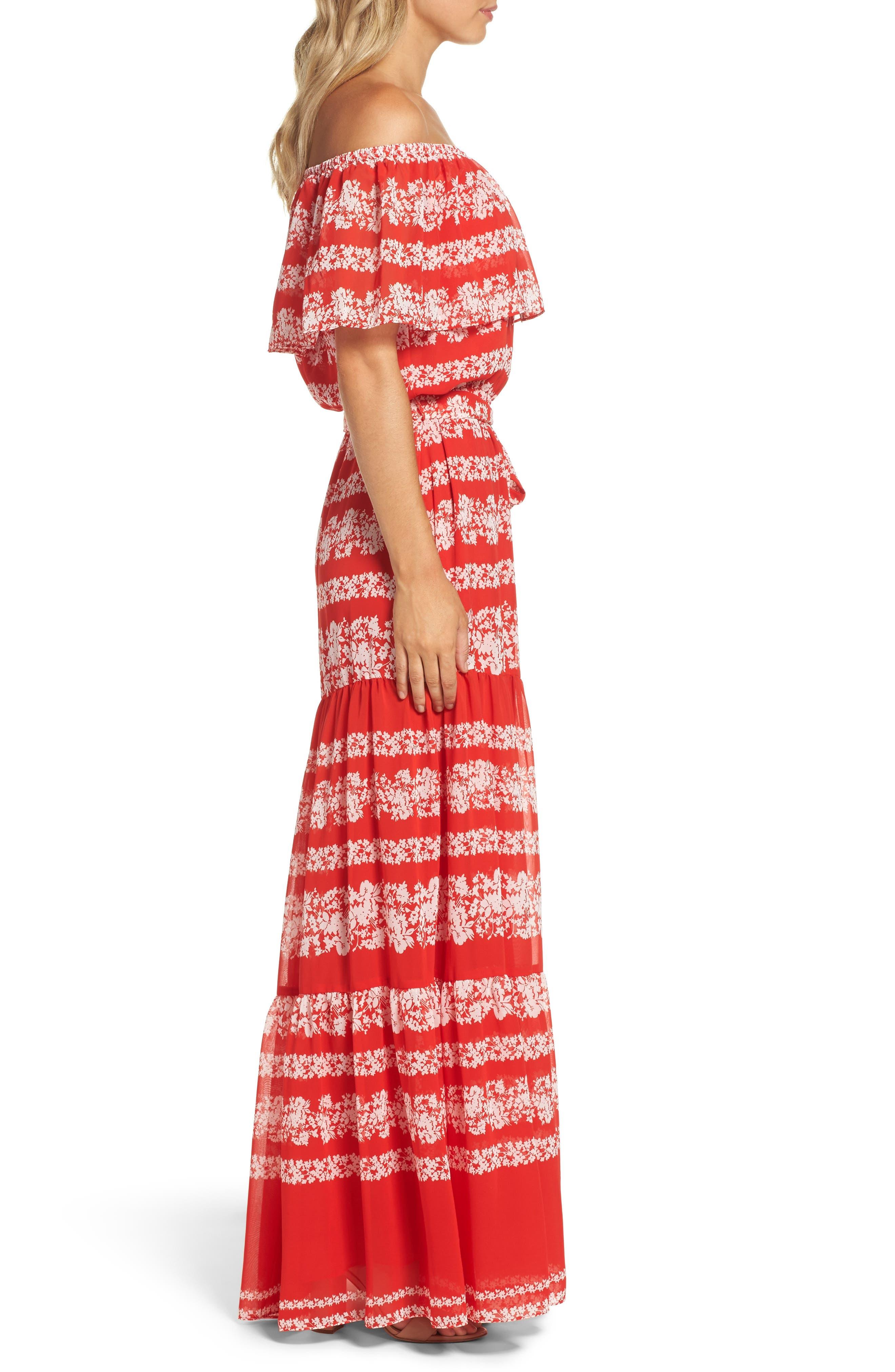 Off the Shoulder Maxi Dress,                             Alternate thumbnail 3, color,                             610