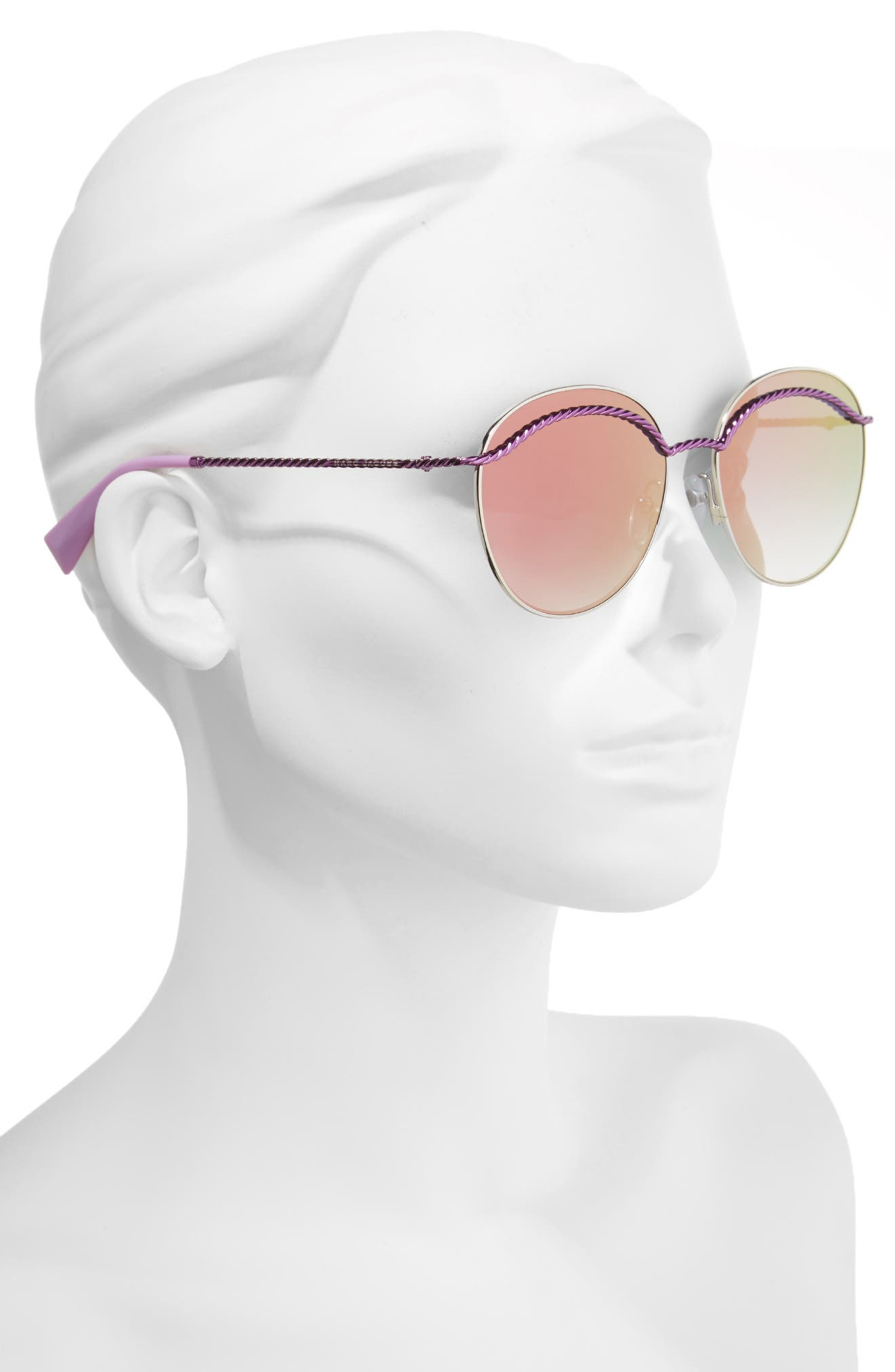 58mm Round Sunglasses,                             Alternate thumbnail 2, color,                             MATTE MAGENTA