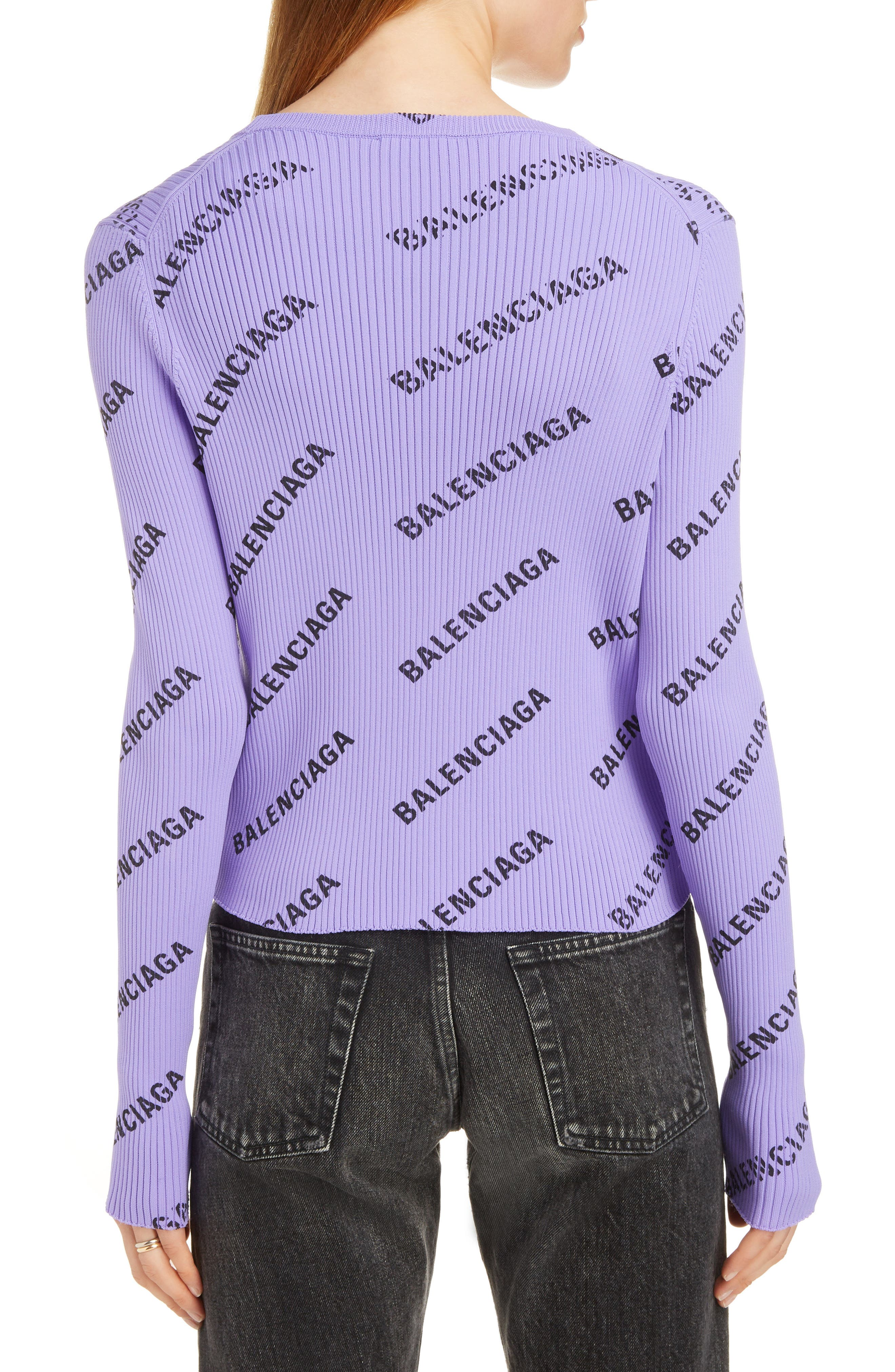 Logo Print Rib Knit Cardigan,                             Alternate thumbnail 2, color,                             LILAC/ BLACK