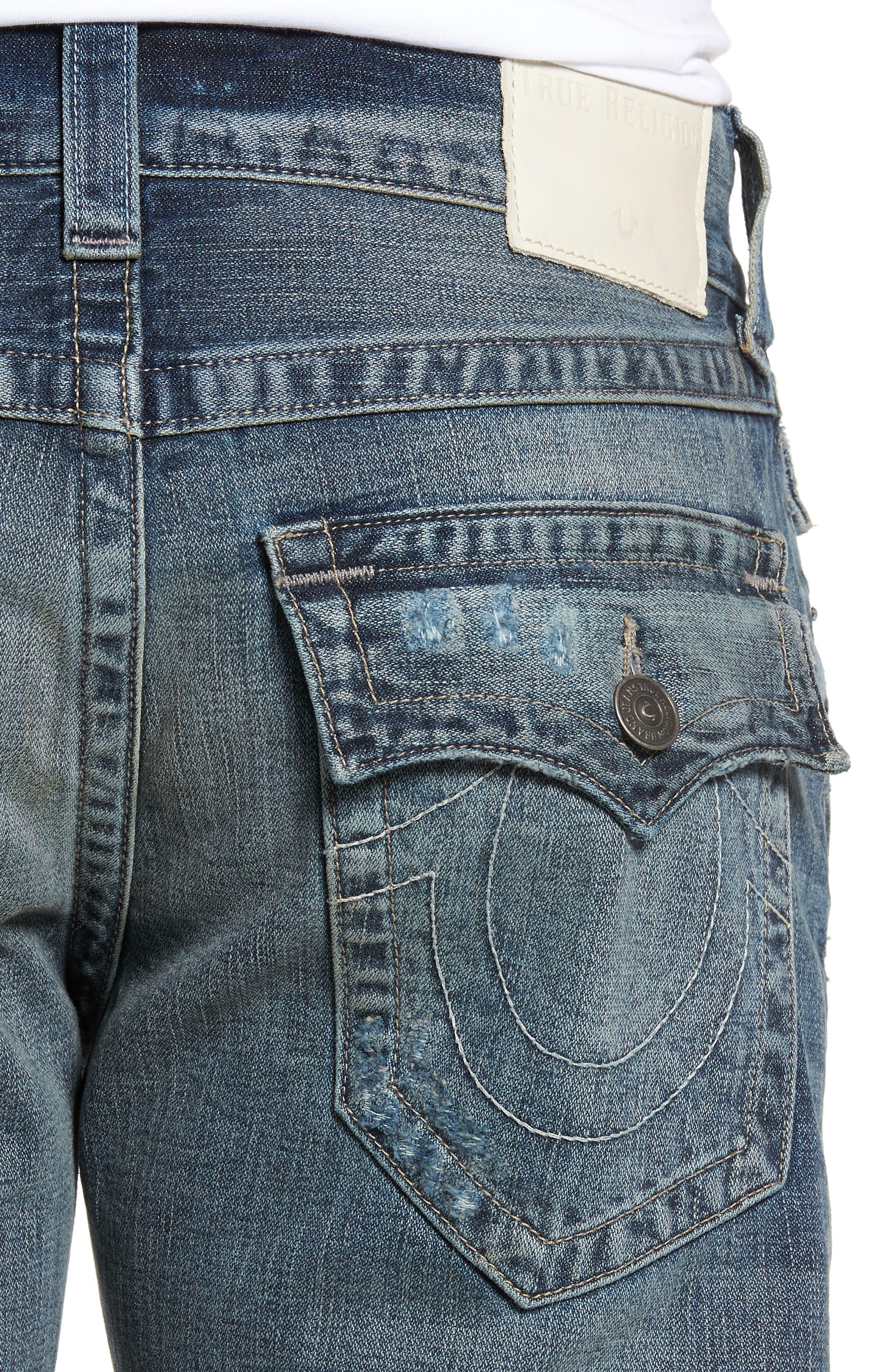Geno Straight Leg Jeans,                             Alternate thumbnail 4, color,                             COMBAT BLUE