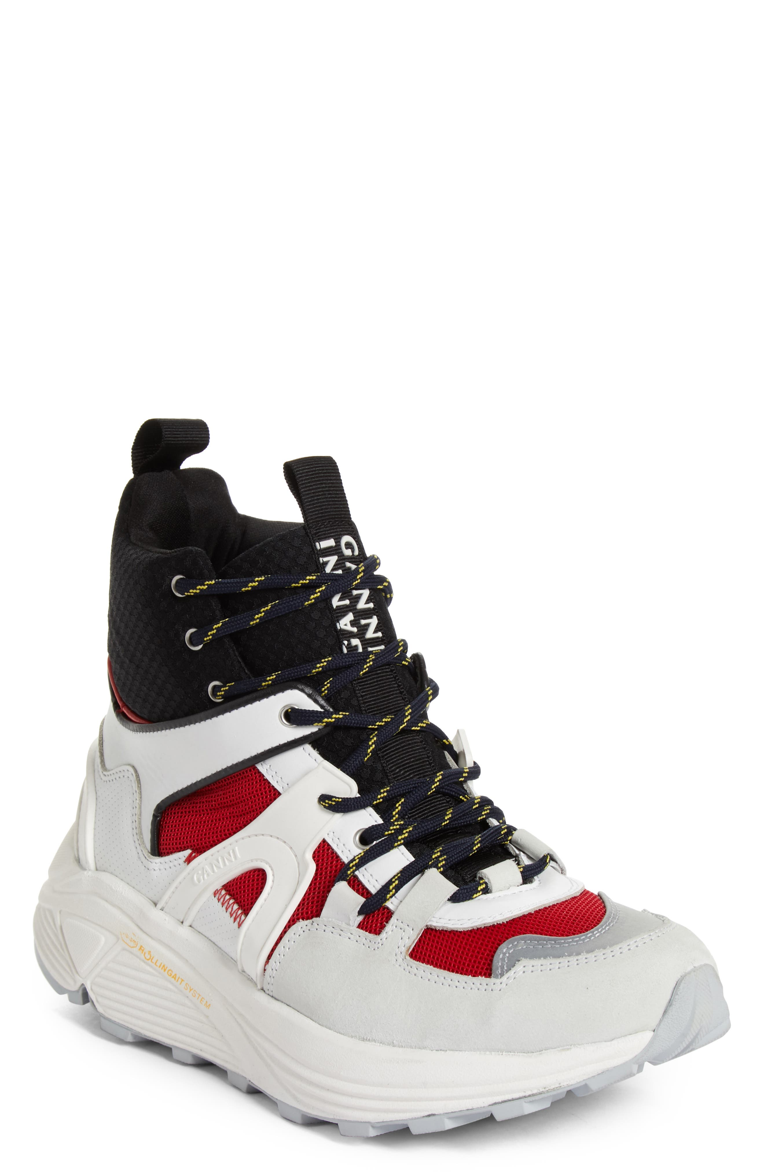 GANNI,                             High Top Tech Sneaker,                             Main thumbnail 1, color,                             FIERY RED 403