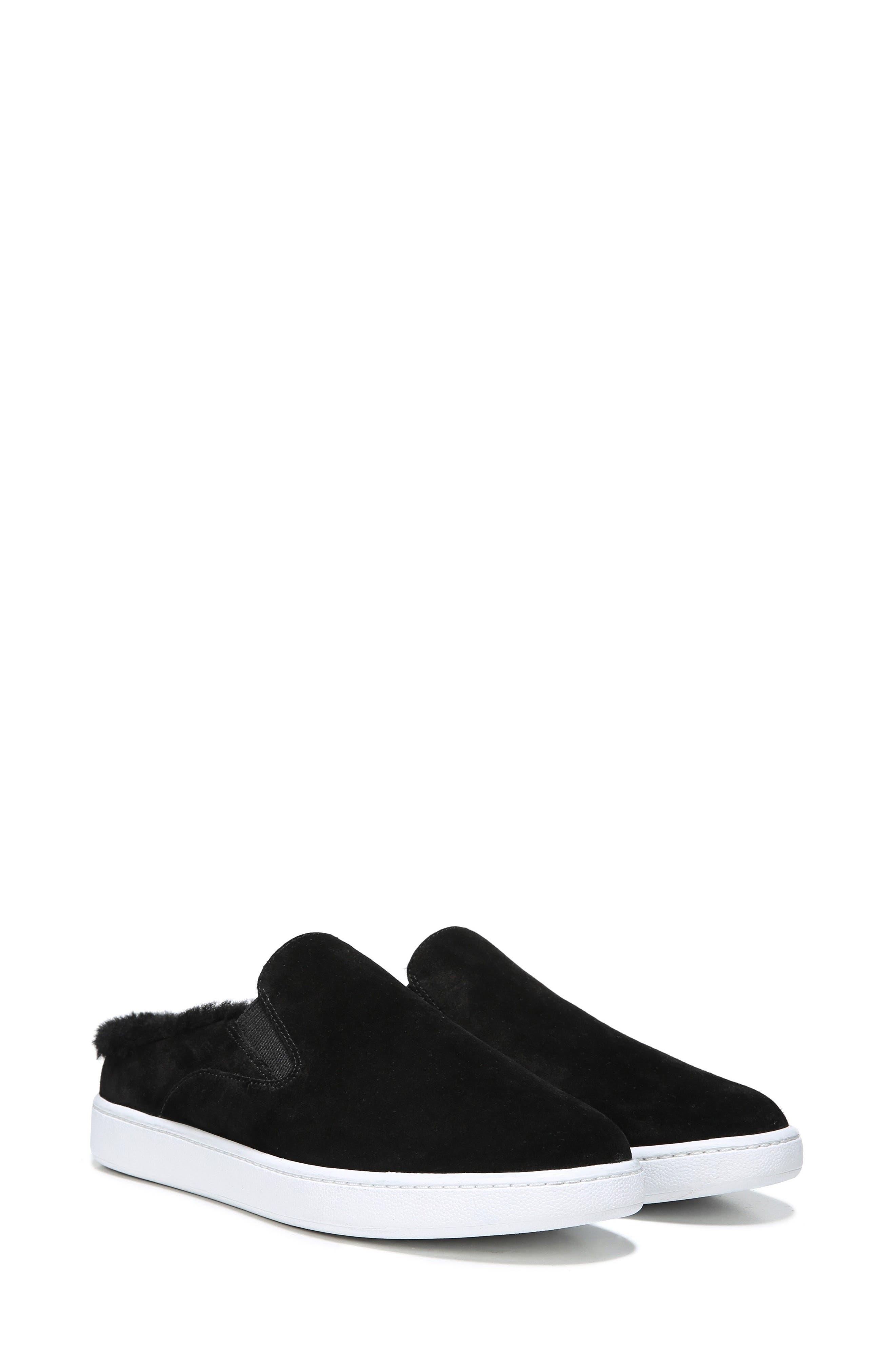 Verrell Genuine Shearling Slip-On Sneaker,                             Alternate thumbnail 7, color,                             001