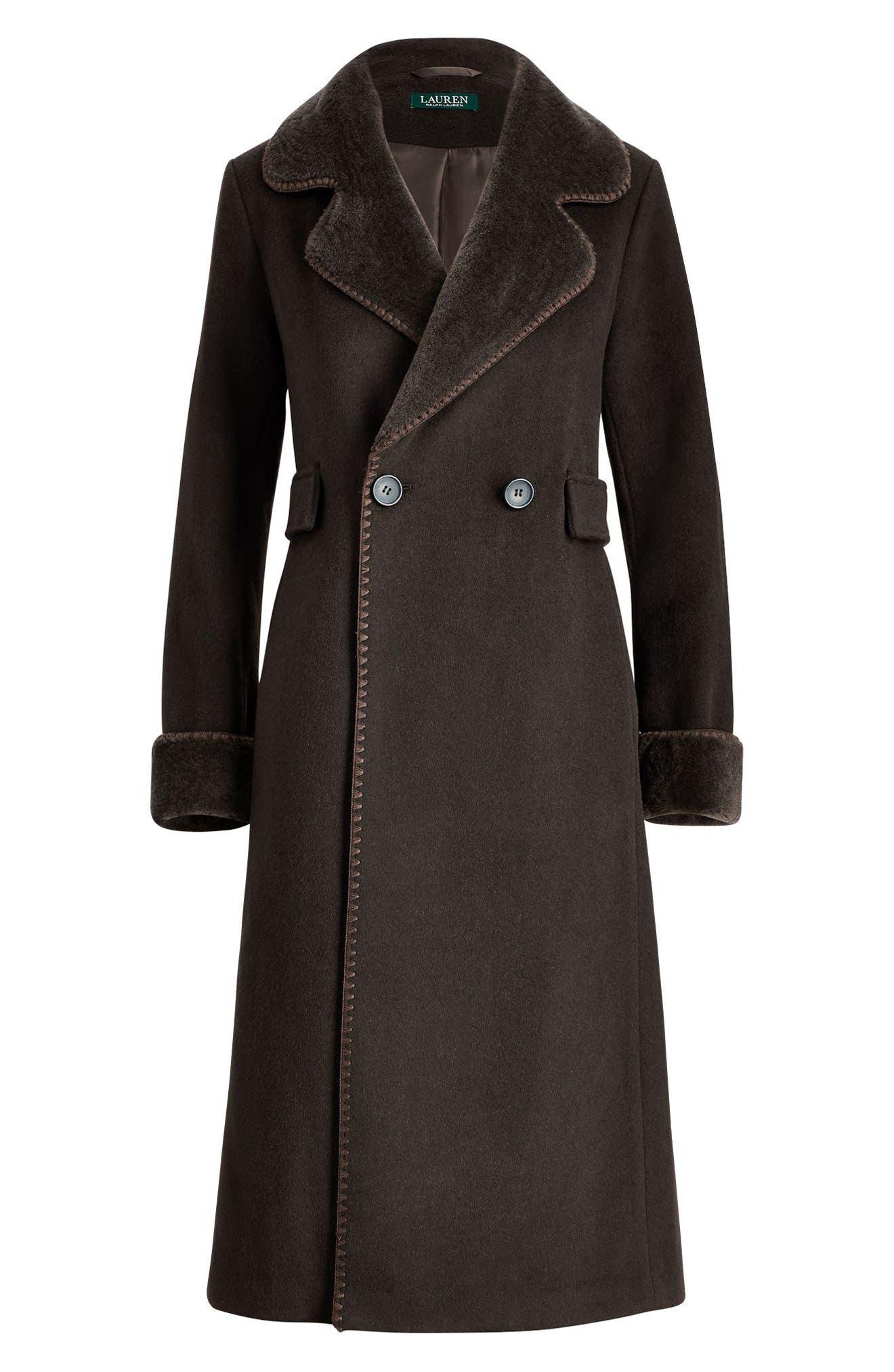 Wool Blend Faux Shearling Trim Coat,                             Alternate thumbnail 3, color,                             MILITARY GREEN